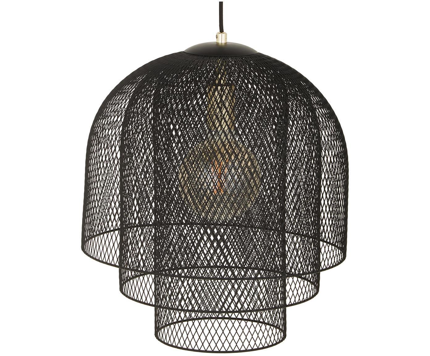 Lampada a sospensione nera  Louie, Baldacchino, portalampada e paralume: nero opaco Cavo: nero opaco, Ø 40 x Alt. 43 cm