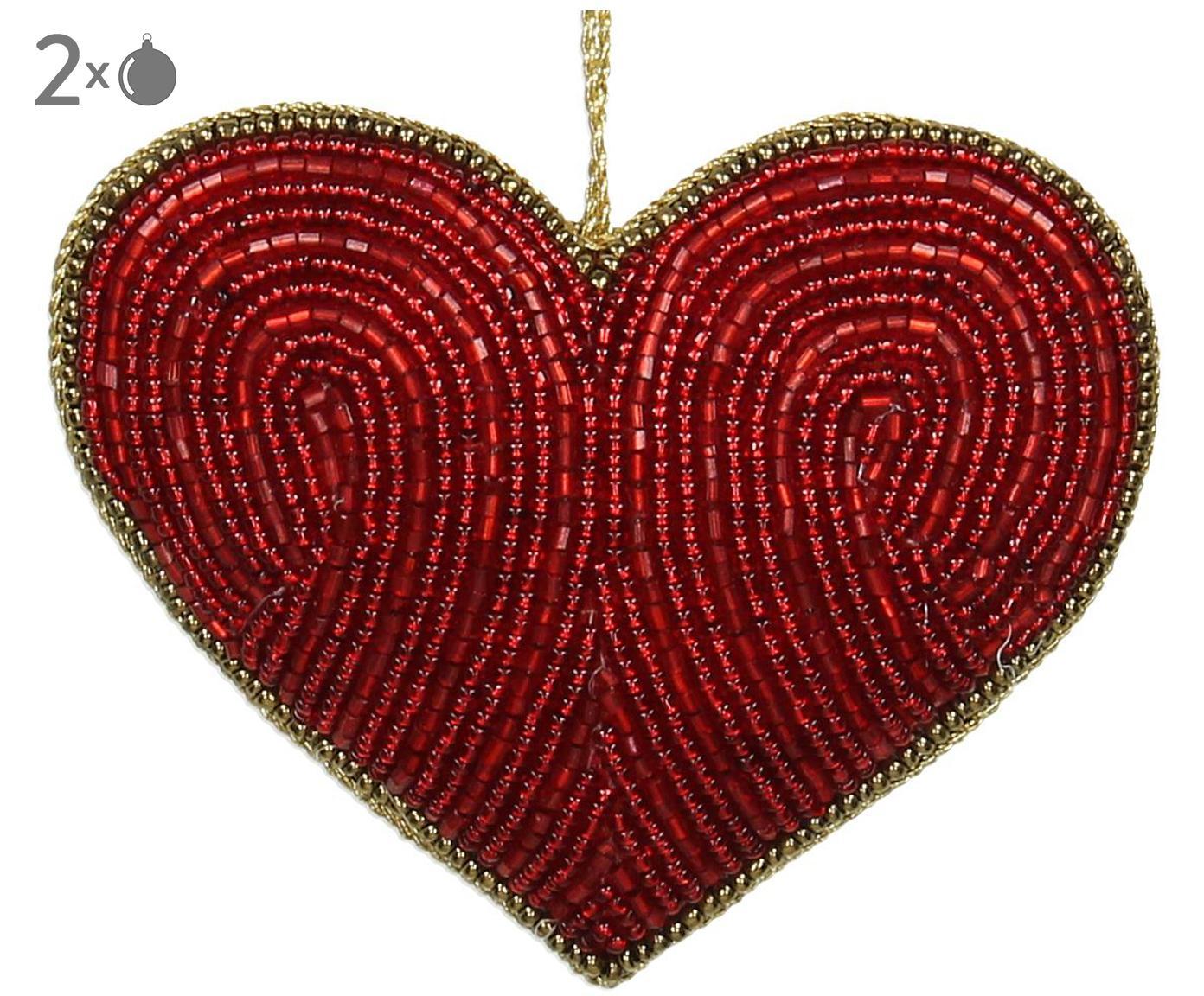 Baumanhänger Heart, 2 Stück, Rot, Goldfarben, 10 x 8 cm