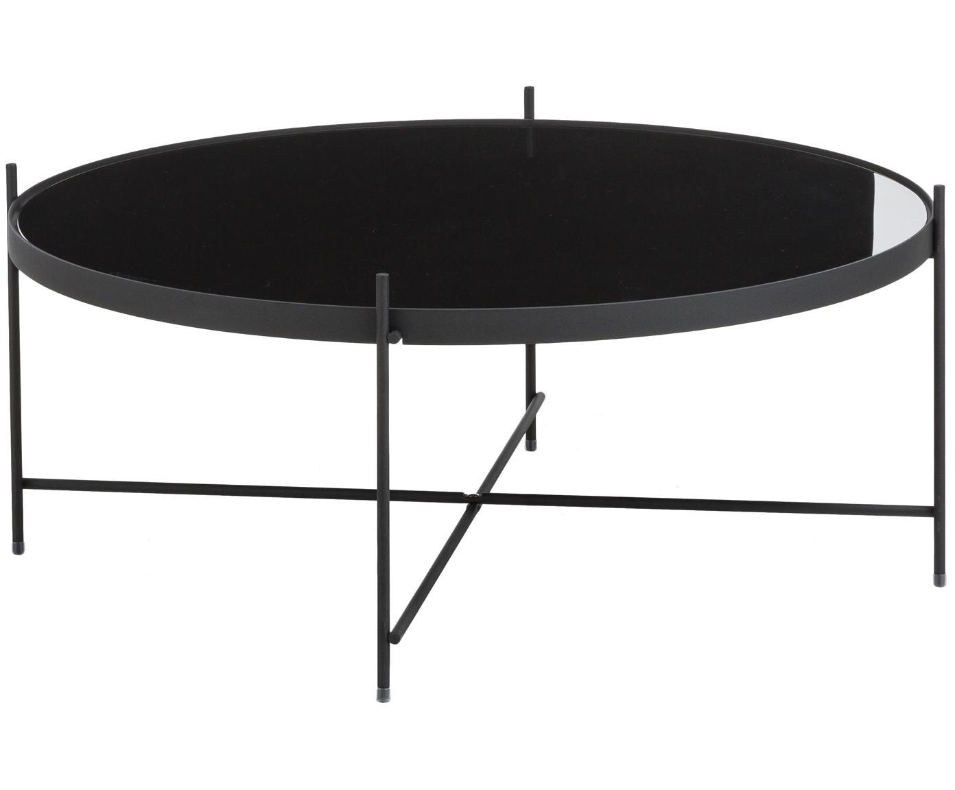 Tavolino da salotto con piano in vetro Cupid, Struttura: ferro, verniciato a polve, Piano d'appoggio: vetro nero, Nero, Ø 83 x Alt. 35 cm