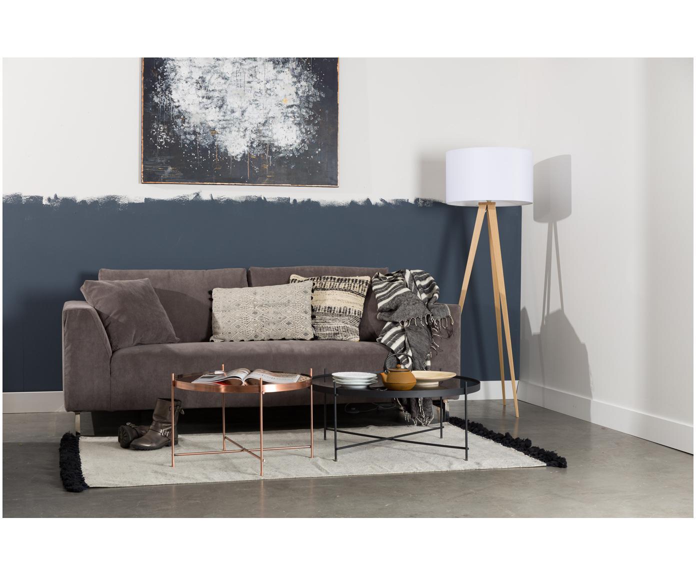 Stolik kawowy Cupid ze szklanym blatem, Stelaż: żelazo malowane proszkowo, Blat: czarne szkło, Czarny, Ø 83 x W 35 cm