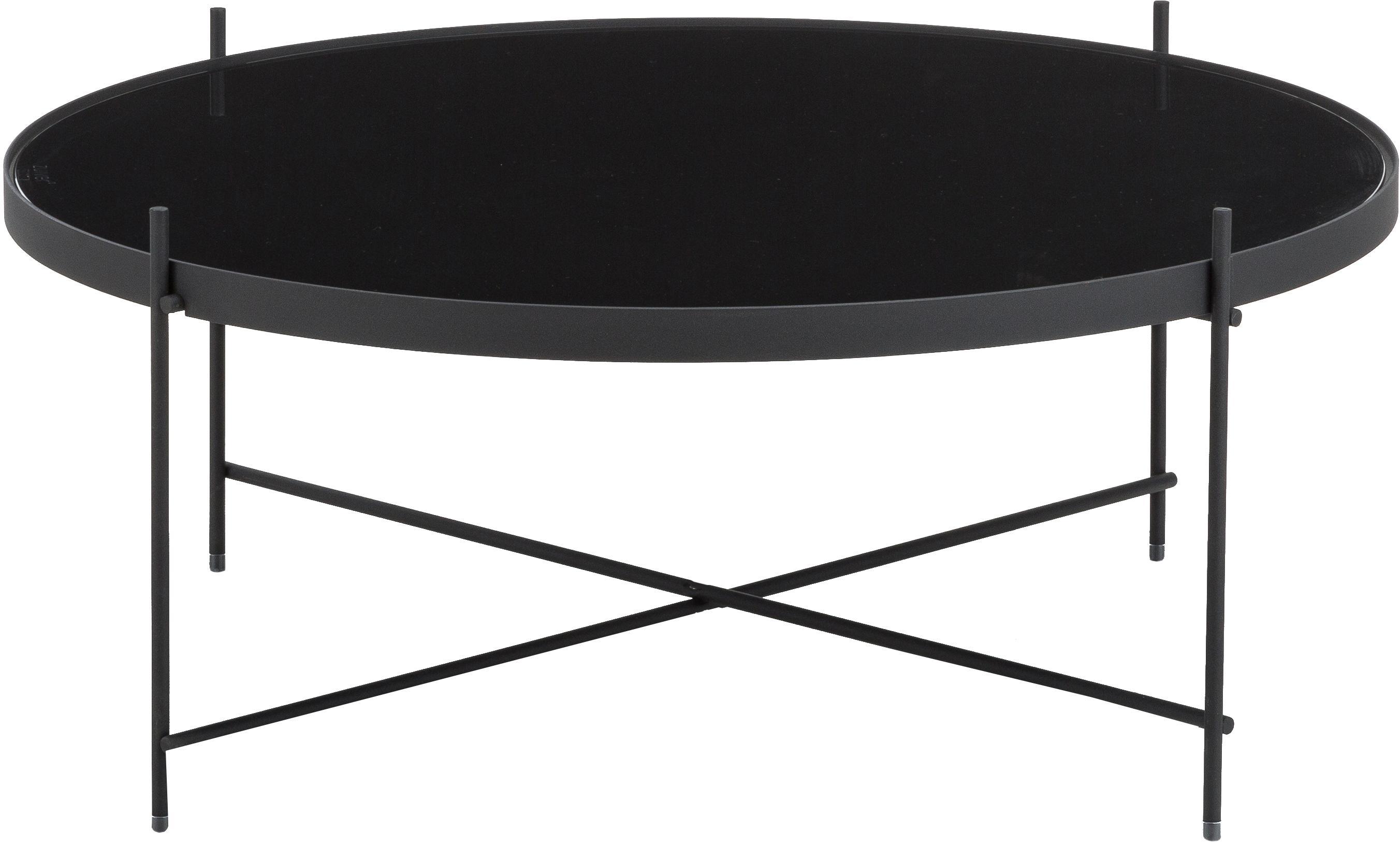 Runder Couchtisch Cupid mit Glasplatte, Gestell: Eisen, pulverbeschichtet, Tischplatte: Schwarzglas, Schwarz, Ø 83 x H 35 cm