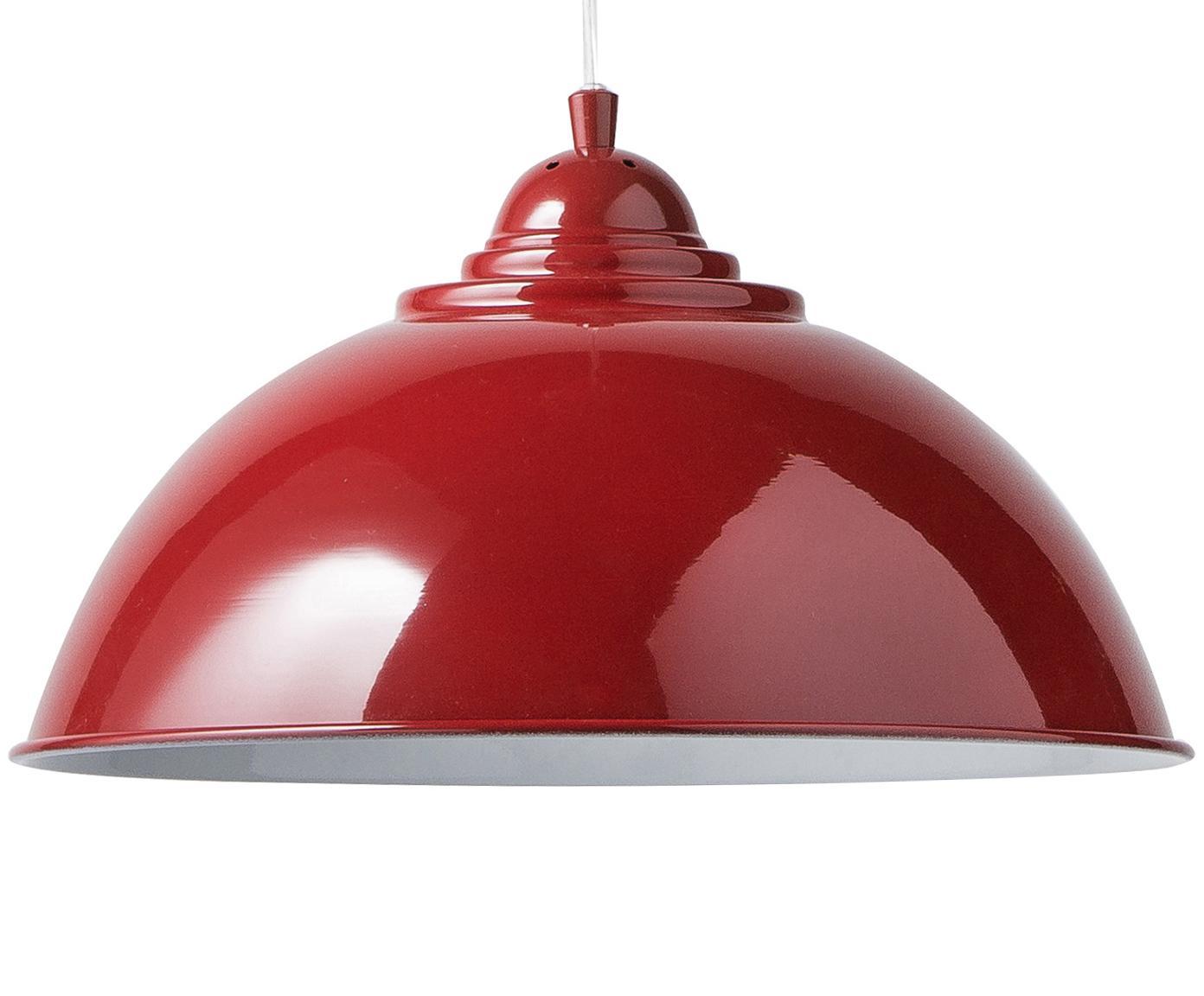 Retro hanglamp Fusion, Gelakt metaal, Baldakijn en lampenkap buitenkant: rood. Lampenkap binnenkant: wit, Ø 34 x H 20 cm