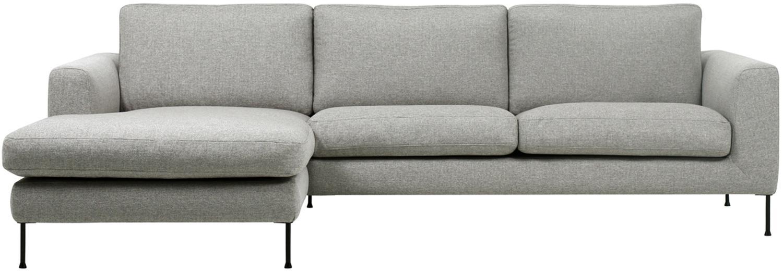 Hoekbank Cucita (3-zits), Bekleding: geweven stof (polyester), Frame: massief grenenhout, Poten: gelakt metaal, Geweven stof lichtgrijs, B 262 x D 163 cm