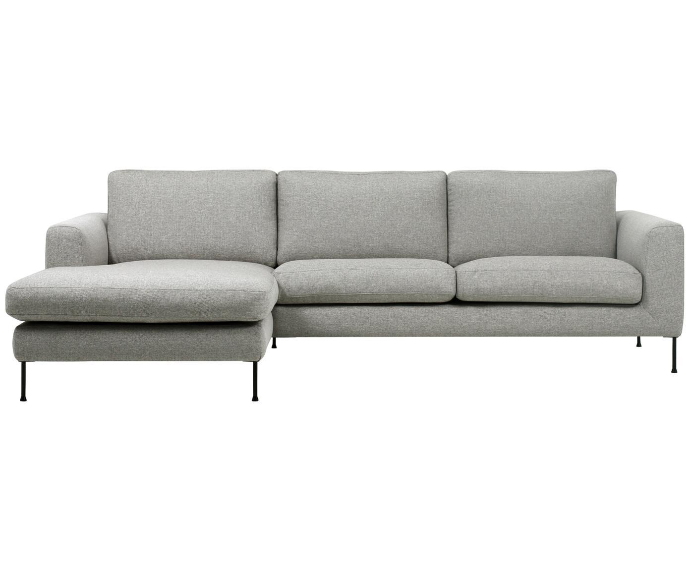 Ecksofa Cucita (3-Sitzer), Bezug: Webstoff (Polyester) 45.0, Gestell: Massives Kiefernholz, Füße: Metall, lackiert, Webstoff Hellgrau, B 262 x T 163 cm