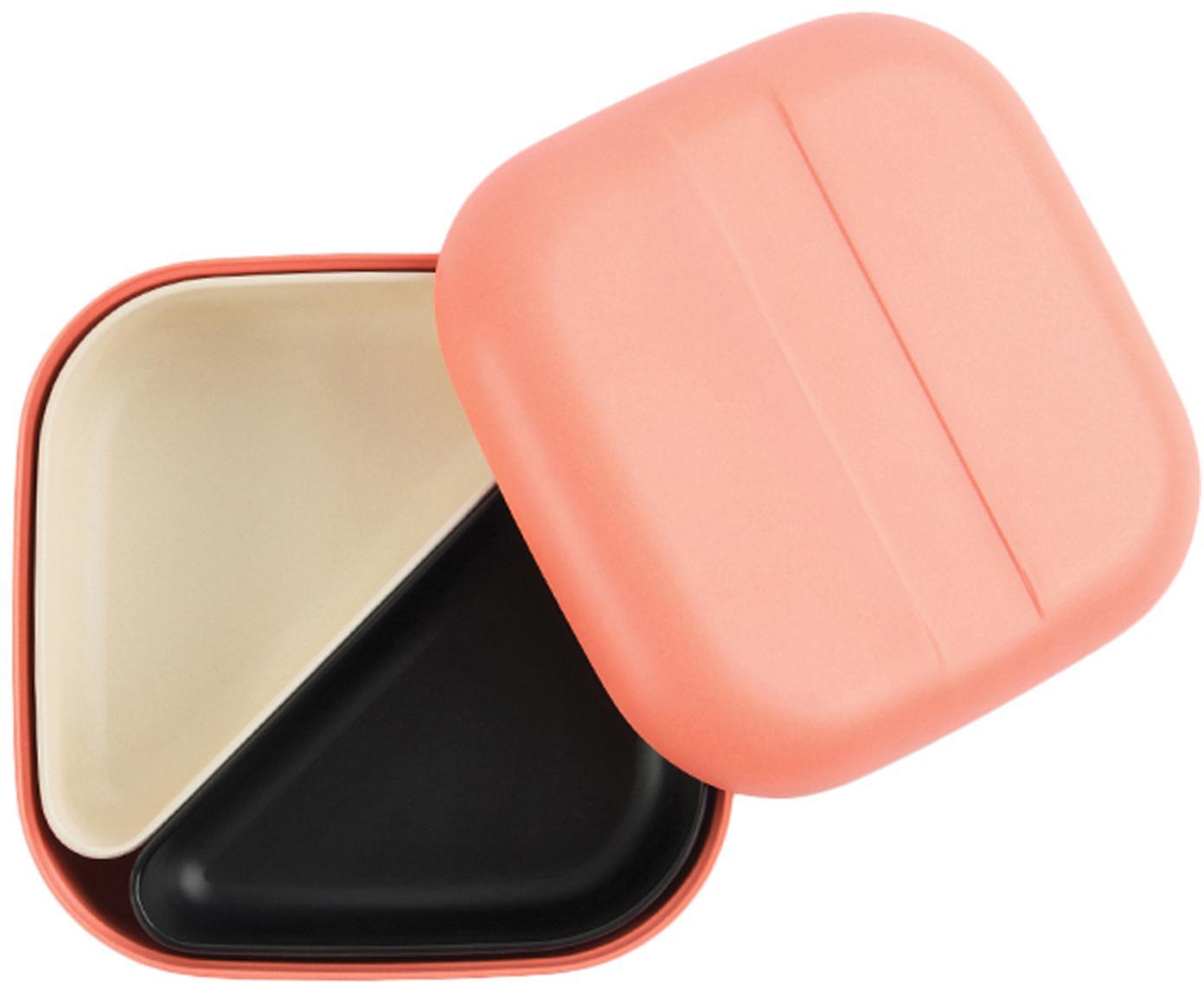 Lunchbox Bento, Bamboehoutvezels, melamine, voedselveilig BPA-, PVC- en ftalatenvrij, Koraalrood, crèmewit, zwart, 15 x 7 cm