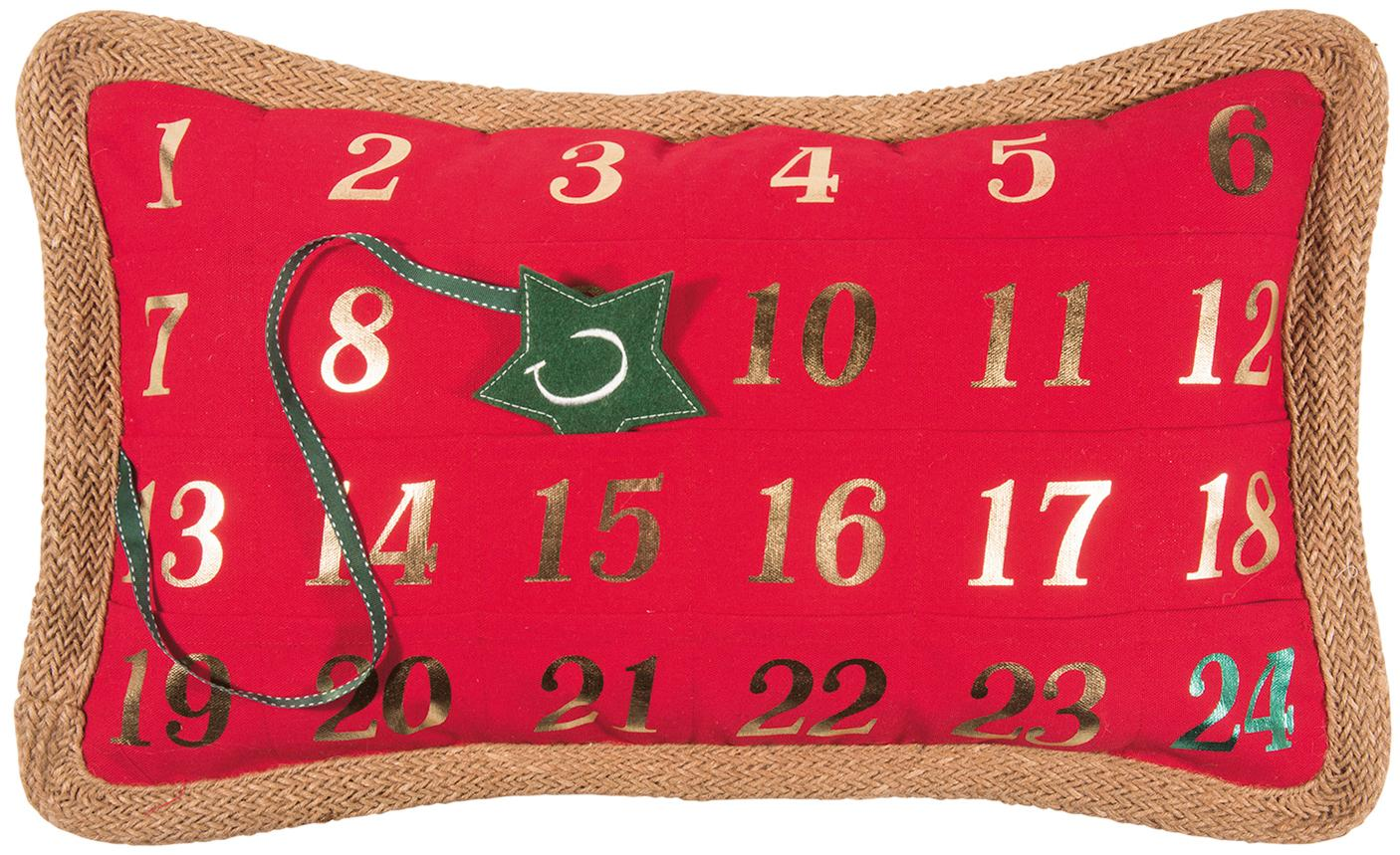 Adventskalender-Kissenhülle Advent, 95% Polyester, 5% Leinen, Rot, Grün, 35 x 60 cm