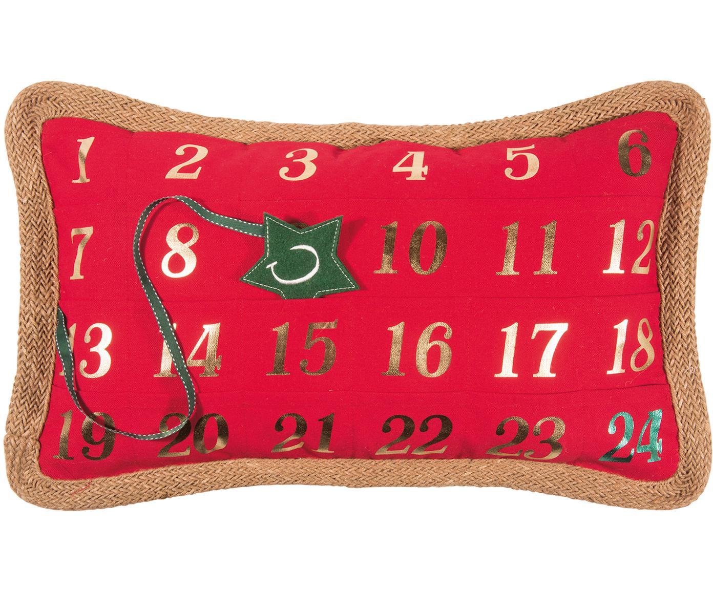 Poszewka na poduszkę-kalendarz adwentowy Advent, 95% poliester, 5% len, Czerwony, zielony, S 35 x D 60 cm