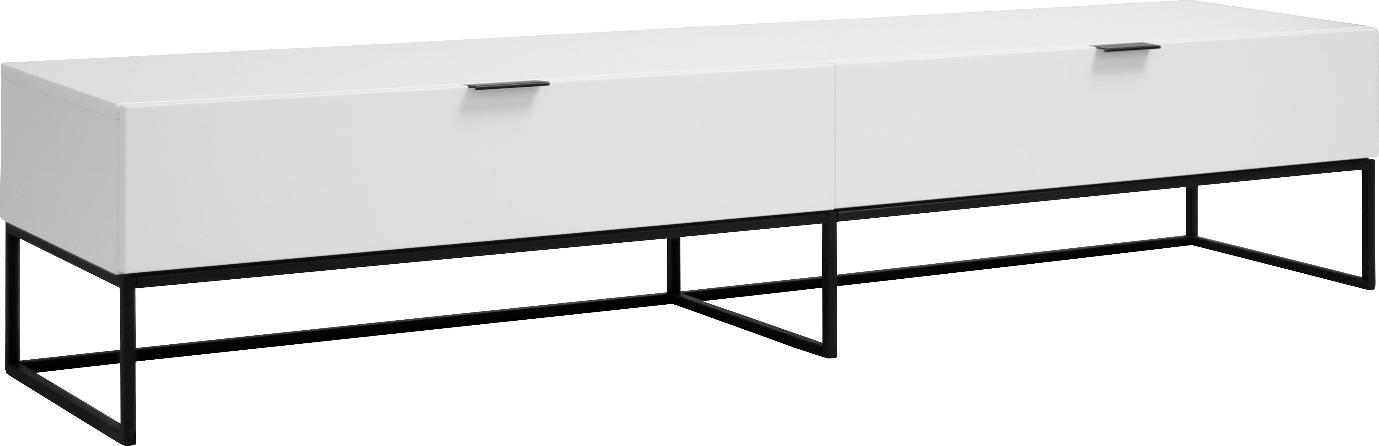 Weißes TV-Lowboard Kobe, Korpus: Weiß, matt Gestell und Griffe: Schwarz, matt, 200 x 40 cm