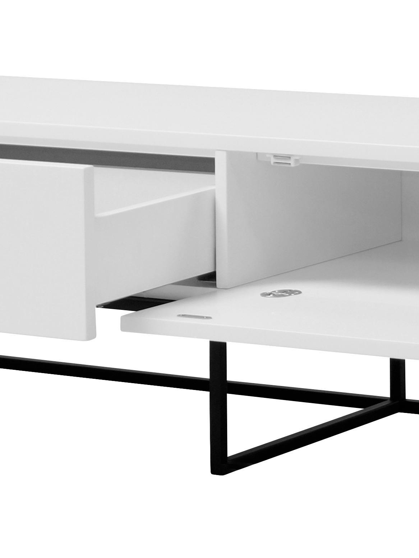 Mobile TV bianco Kobe, Struttura e maniglie: acciaio opaco verniciato, Corpo: bianco opaco Struttura e maniglie: nero opaco, Larg. 200 x Alt. 40 cm