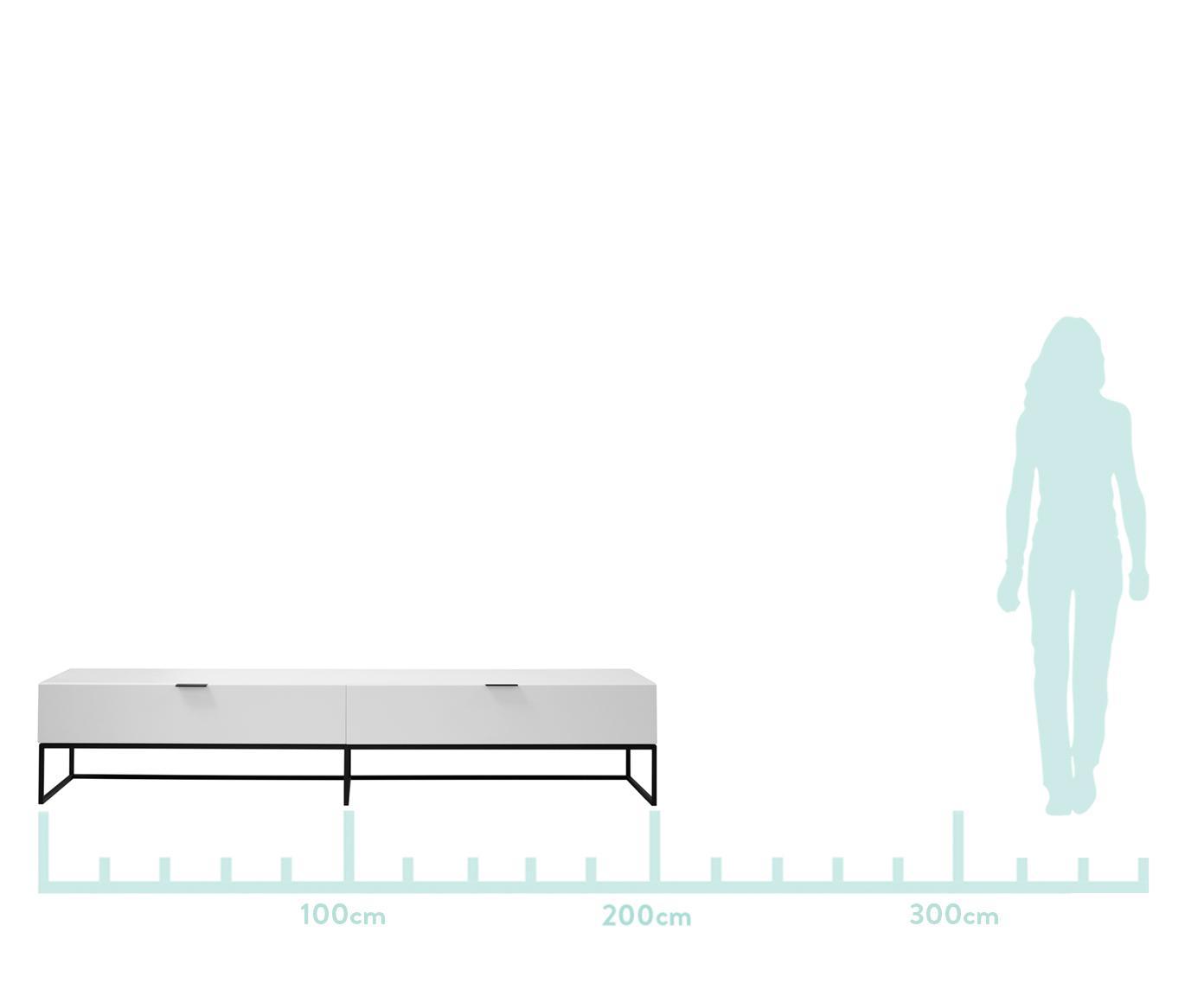 Witte tv-meubel Kobe, Frame: mat wit.  Frame en handgrepen: matzwart, B 200  x D 40 cm