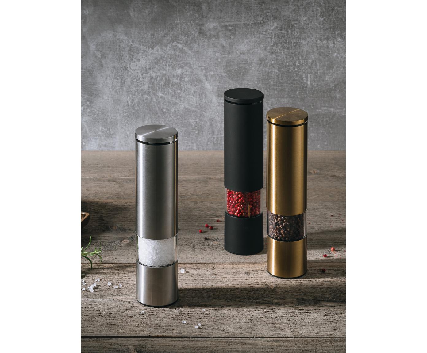 Młynek  Sheda, Akryl, tworzywo sztuczne (ABS), stal nierdzewna, ceramika, Odcienie mosiądzu, transparentny, Ø 5 x W 22 cm