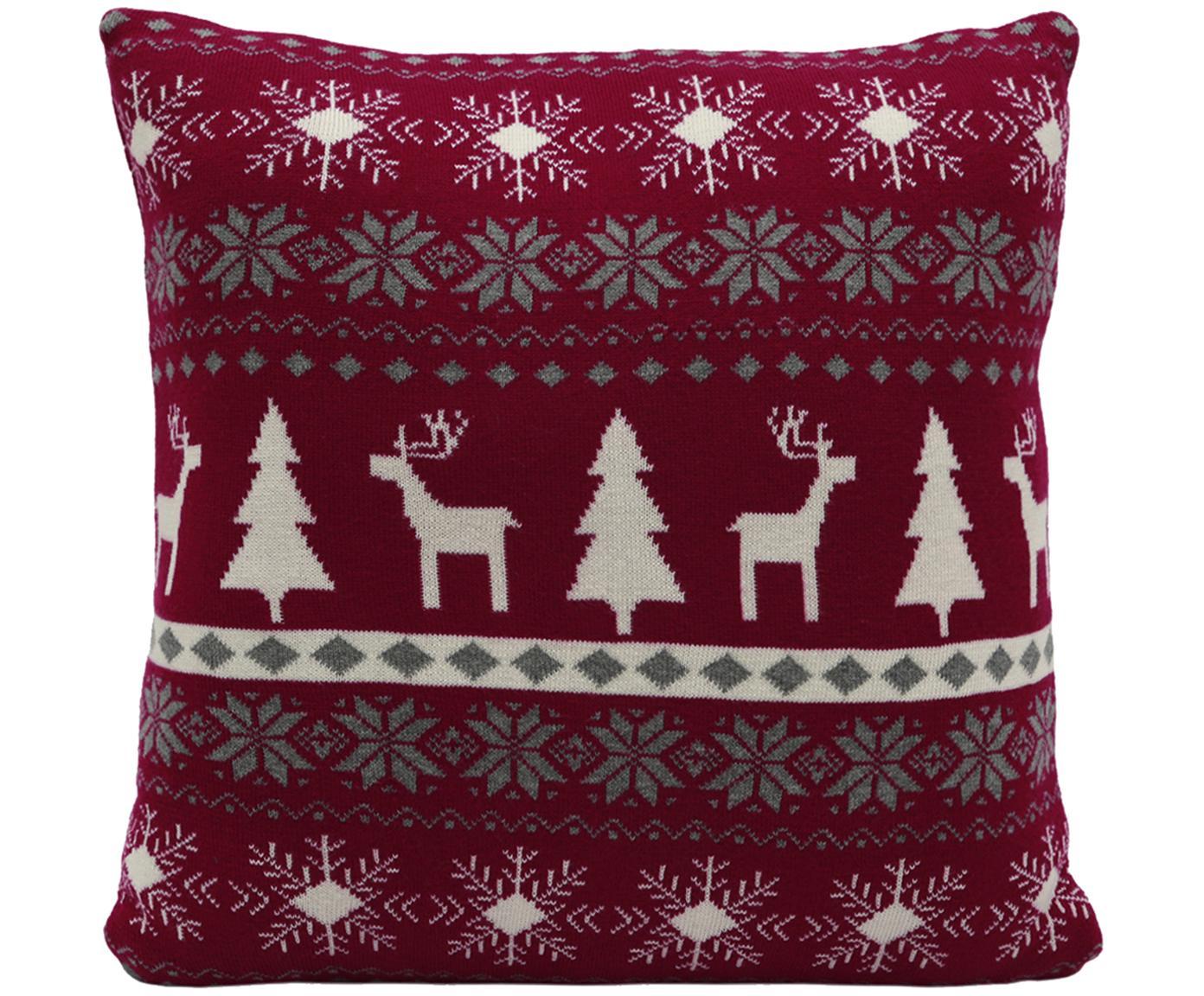 Strick-Kissenhülle David mit winterlichem Muster, Baumwolle, Dunkelrot, Cremeweiss, Grau, 40 x 40 cm