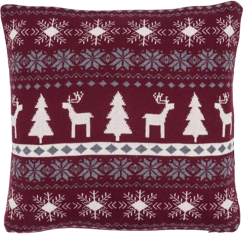 Strick-Kissenhülle David mit winterlichem Muster, Baumwolle, Dunkelrot, Cremeweiß, Grau, 40 x 40 cm