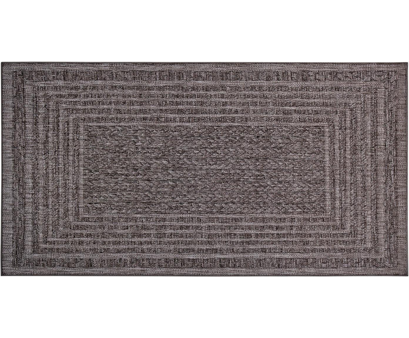 In- & outdoor vloerkleed Limonero, Polypropyleen, Donkergrijs, B 80 x L 150 cm (maat XS)