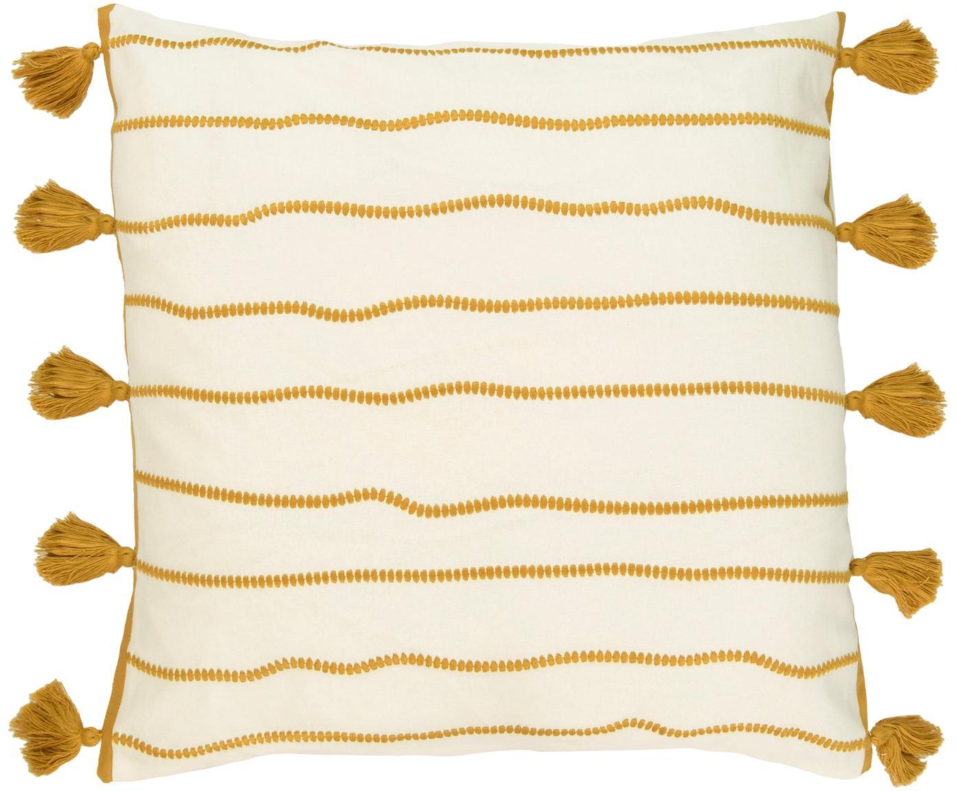 Kissenhülle Blanket mit Quasten, 100% Baumwolle, Gelb, Weiss, 50 x 50 cm
