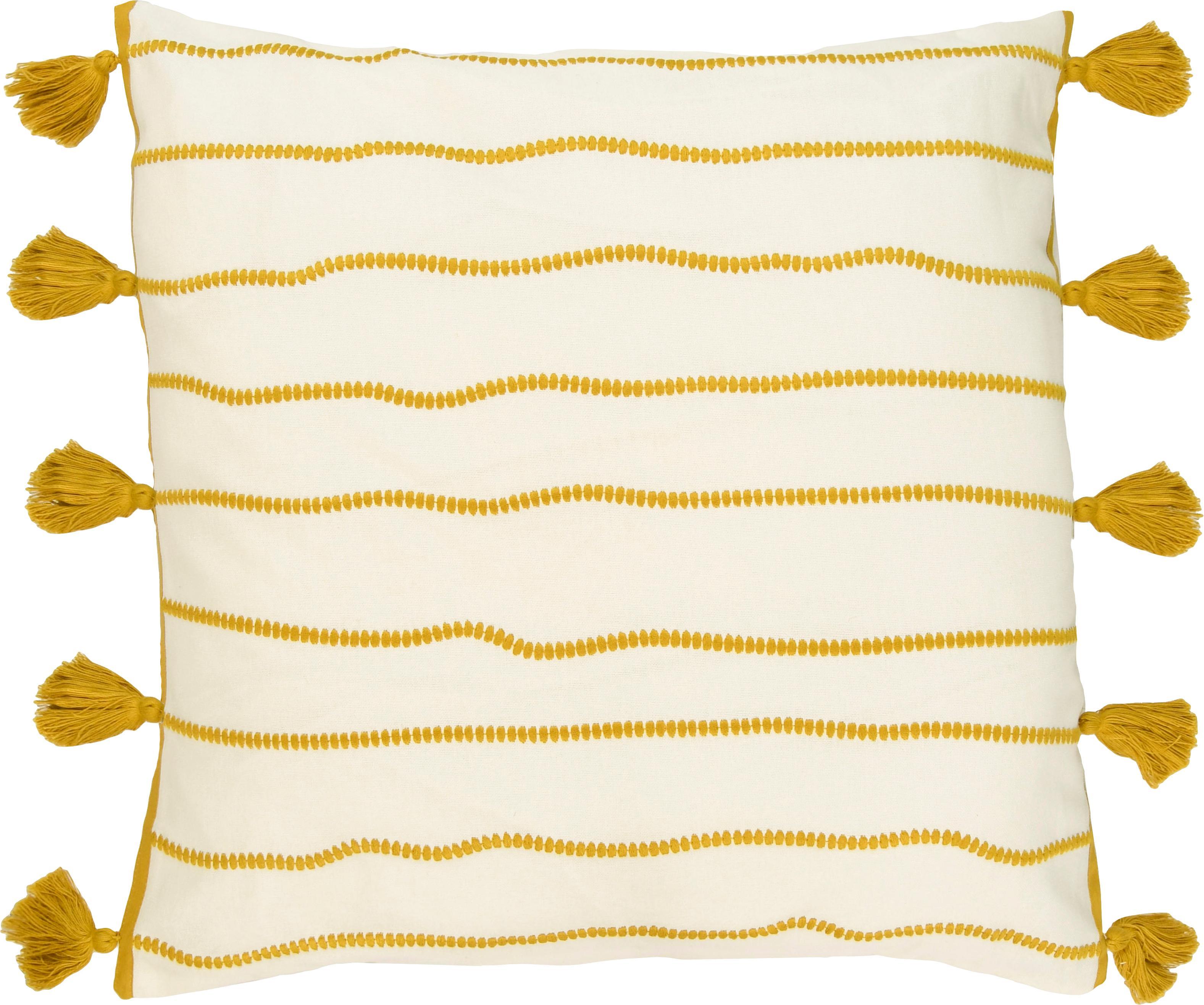 Funda de cojín con borlas Blanket, 100%algodón, Amarillo, blanco, An 50 x L 50 cm