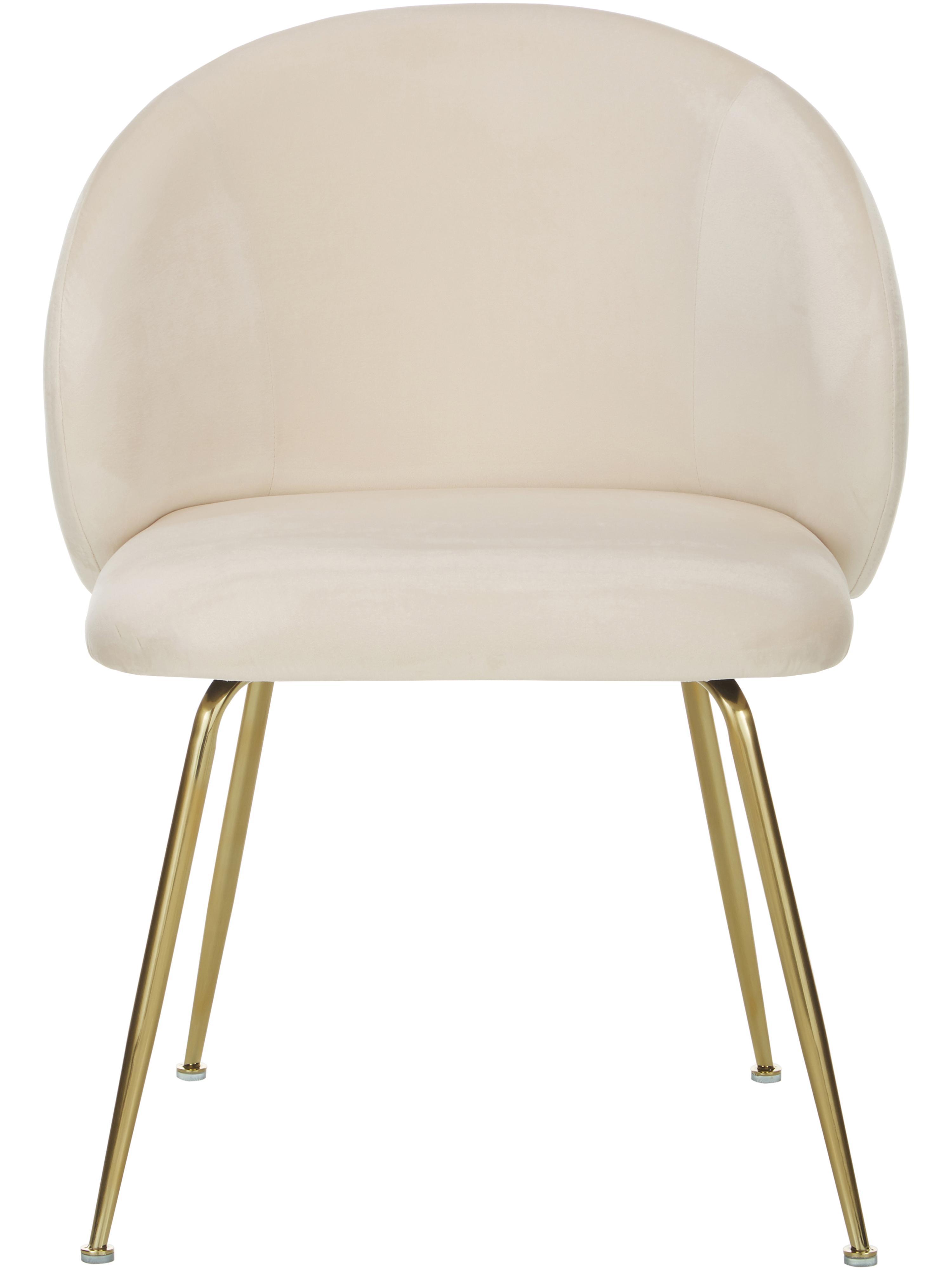 Krzesło tapicerowane z aksamitu Luisa, 2 szt., Nogi: metal lakierowany, Aksamitny kremowobiały, złoty, S 61 x G 58 cm
