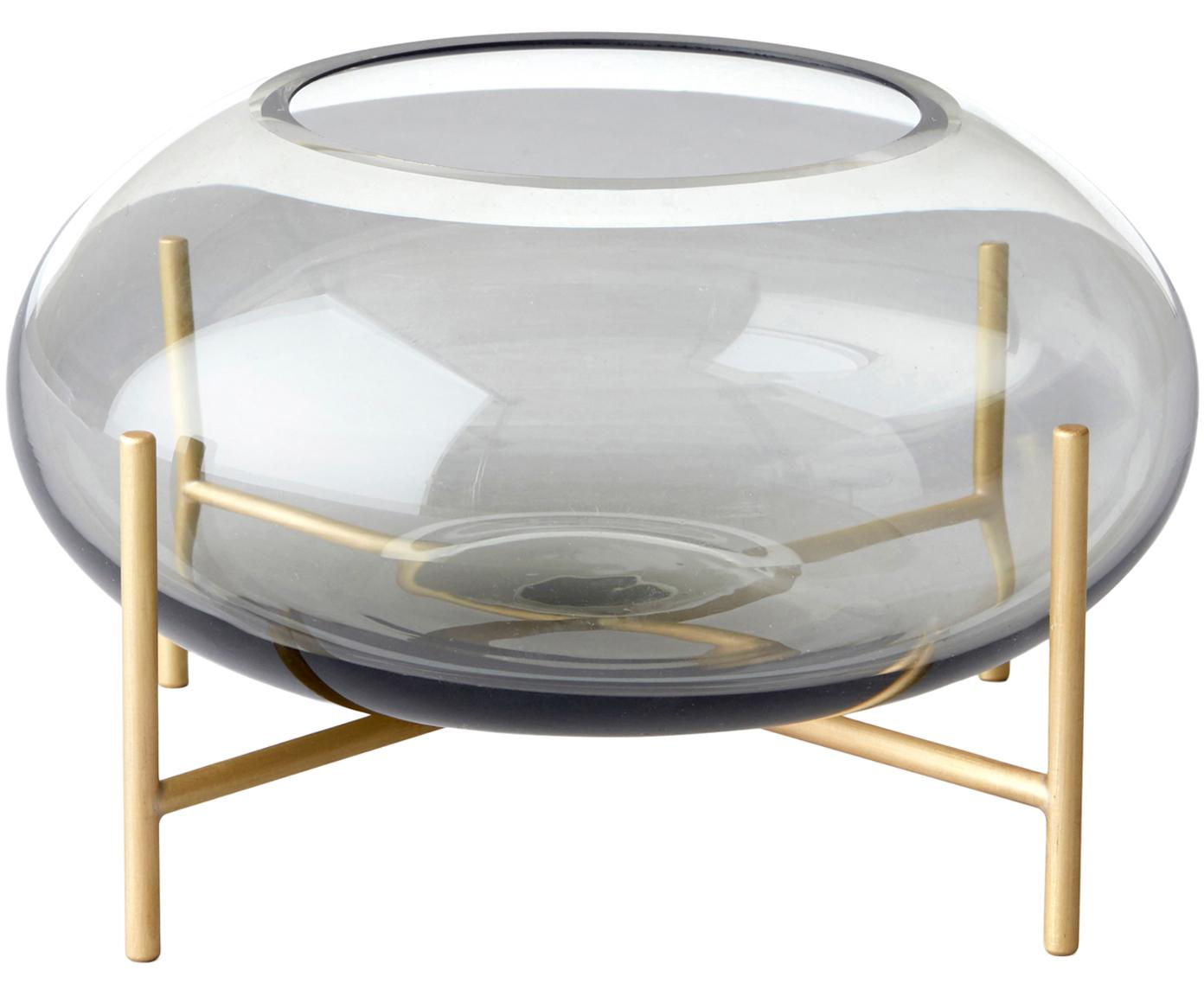 Portalumini Hurricane, Struttura: ottone spazzolato, Vaso: vetro, Ottone, grigio, Ø 14 x Alt. 9 cm