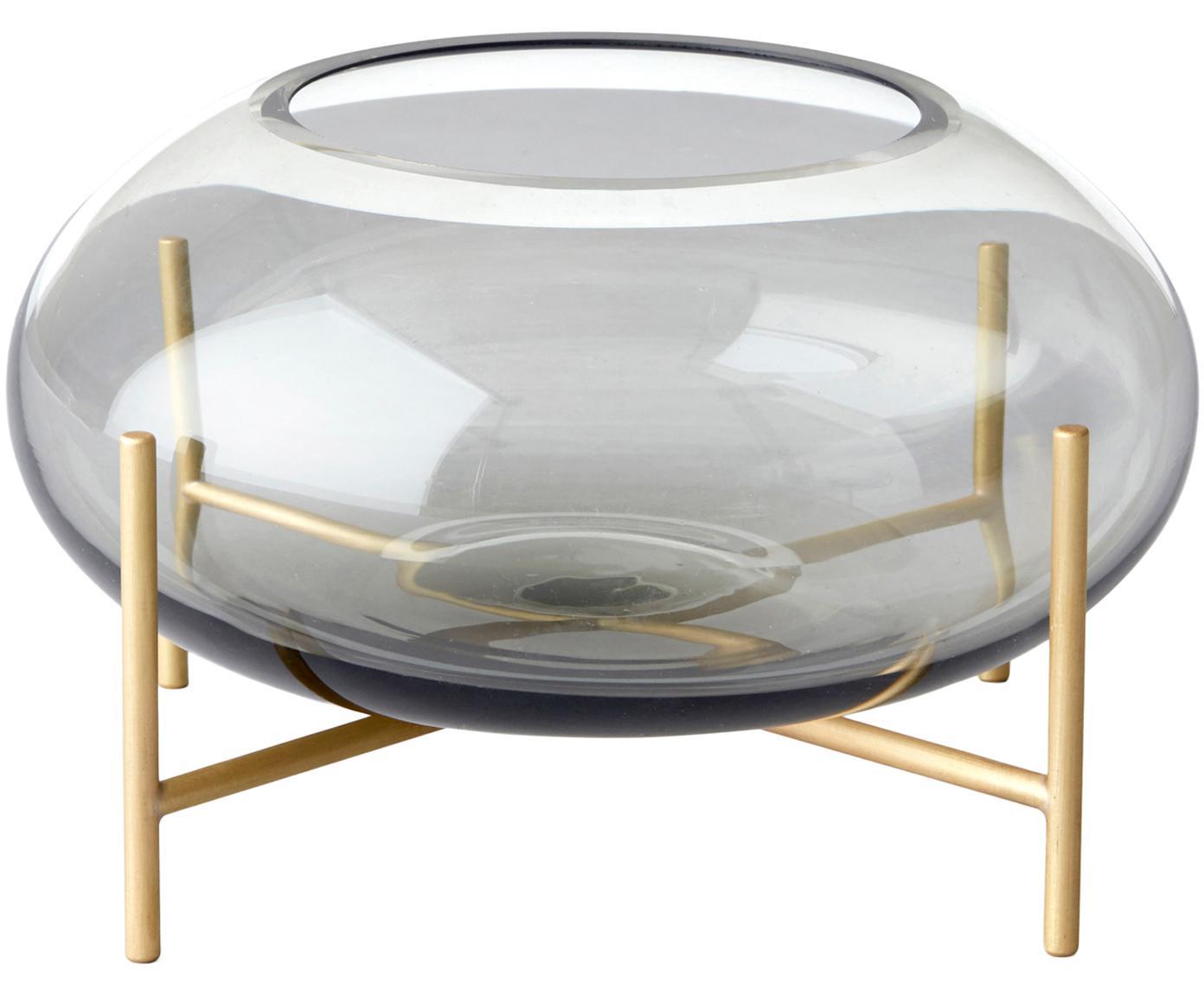 Waxinelichthouder Hurricane, Geborsteld messing Glas, Messingkleurig, grijs, Ø 14 x H 9 cm