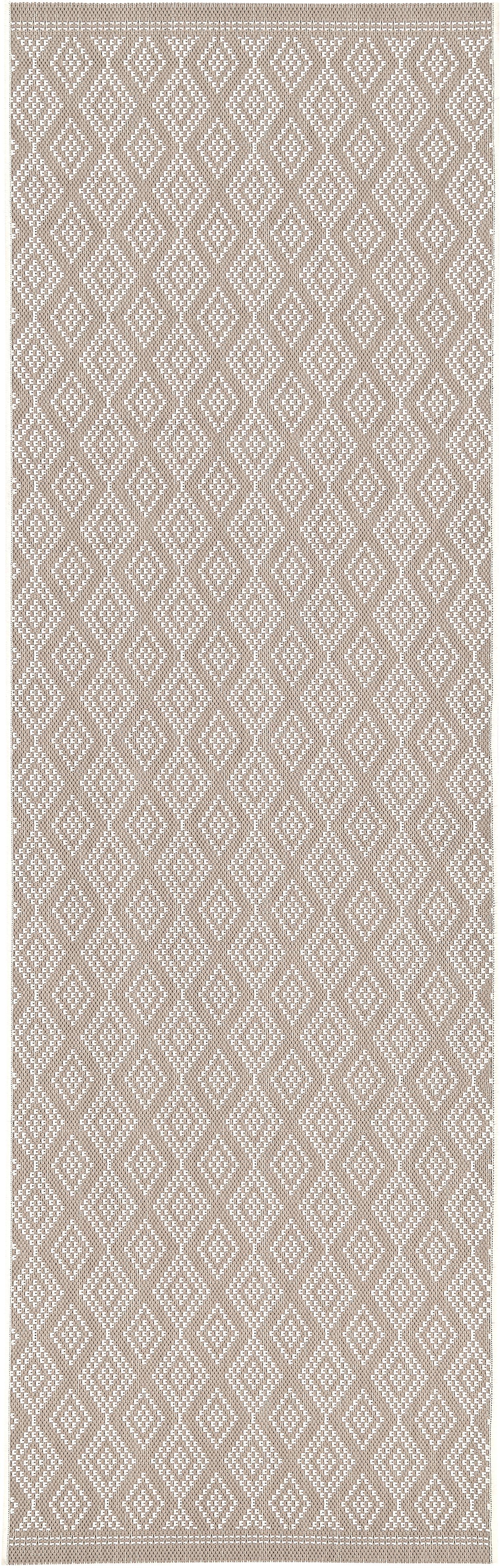 In- & outdoor loper Limonia, Bovenzijde: polypropyleen, Onderzijde: polyester, Crèmewit, beige, 80 x 250 cm