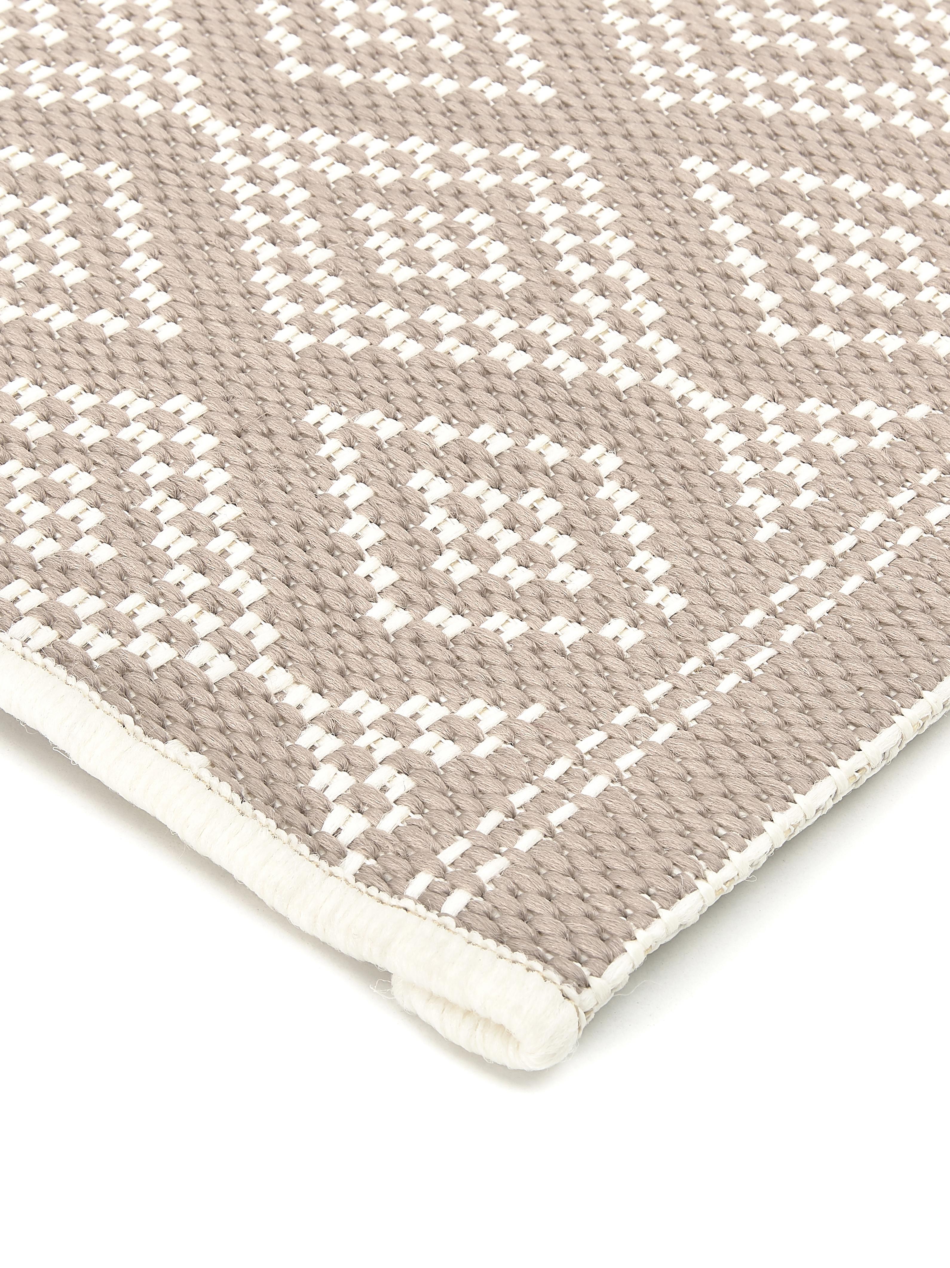 Tappeto da interno-esterno Capri, Retro: poliestere, Bianco crema, beige, Larg. 80 x Lung. 250 cm