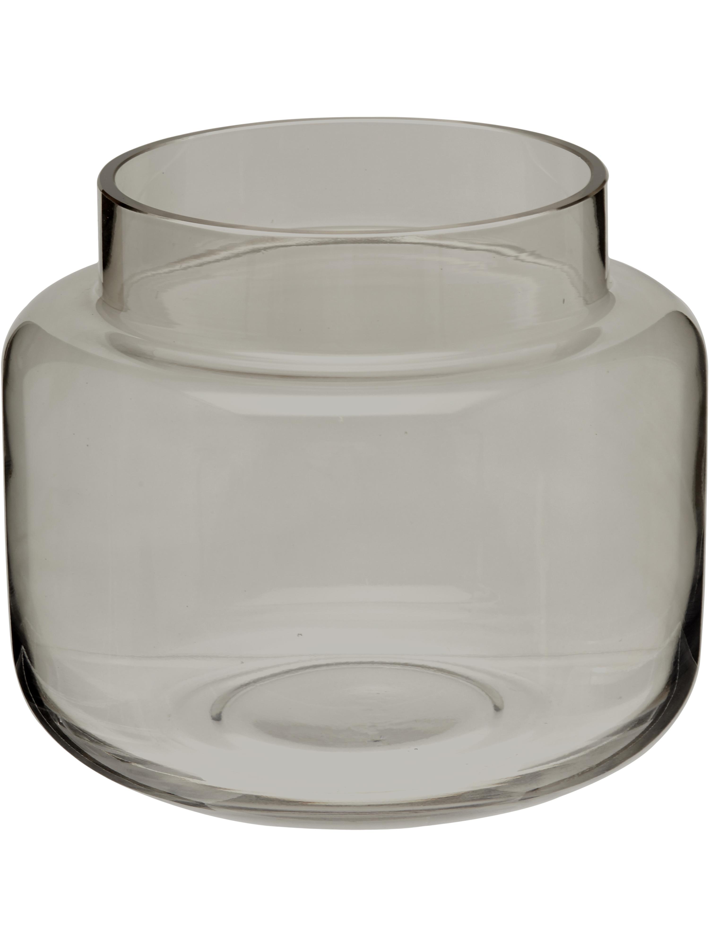 Jarrón mediano de vidrio Lasse, Vidrio, Gris, transparente, Ø 16 x Al 14 cm