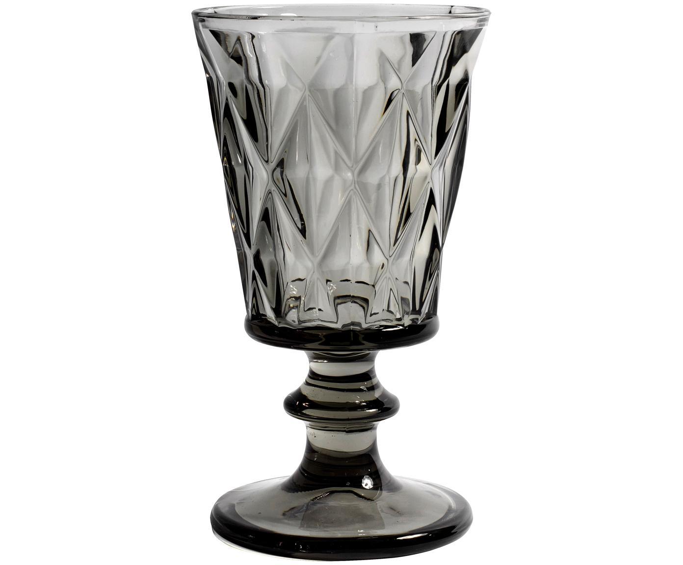 Wijnglazen Diamond, 6 stuks, Glas, Rookgrijs, licht transparant, Ø 9 x H 16 cm