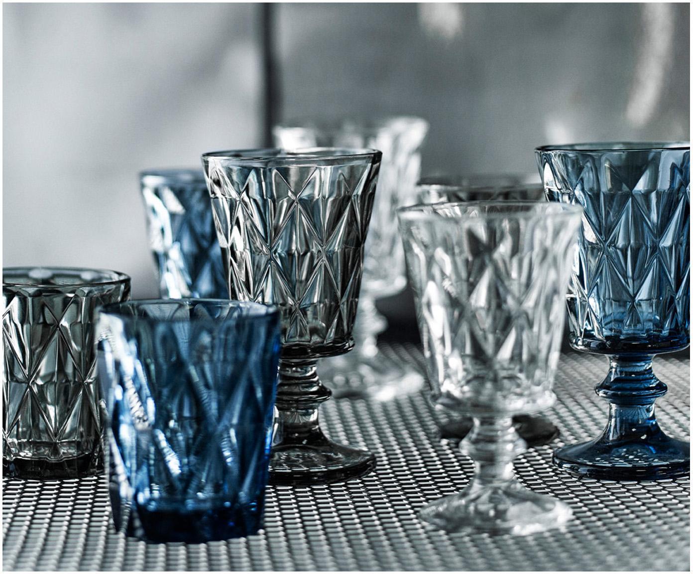 Bicchiere da vino Diamond 6 pz, Vetro, Grigio scuro, leggermente trasparente, Ø 9 x Alt. 16 cm