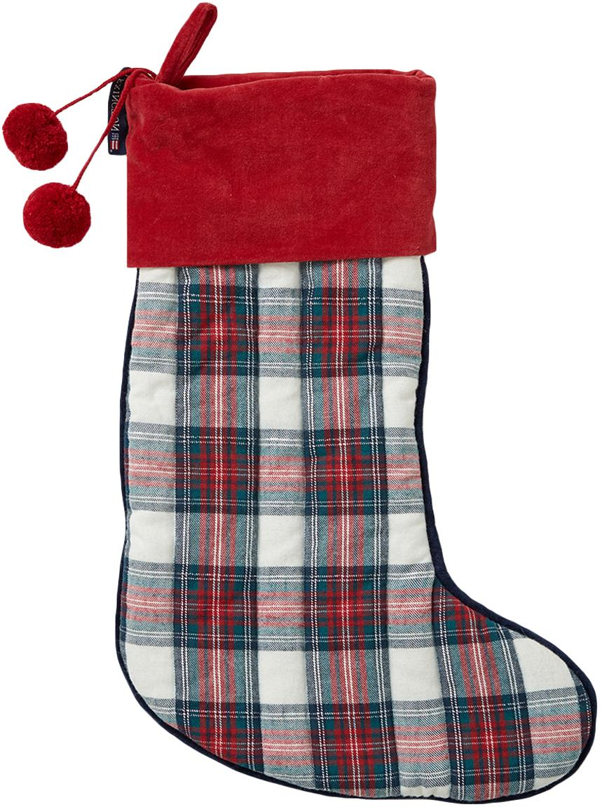 Kerstsok Holiday, Katoen, Rood, wit, donkerblauw, L 45 cm