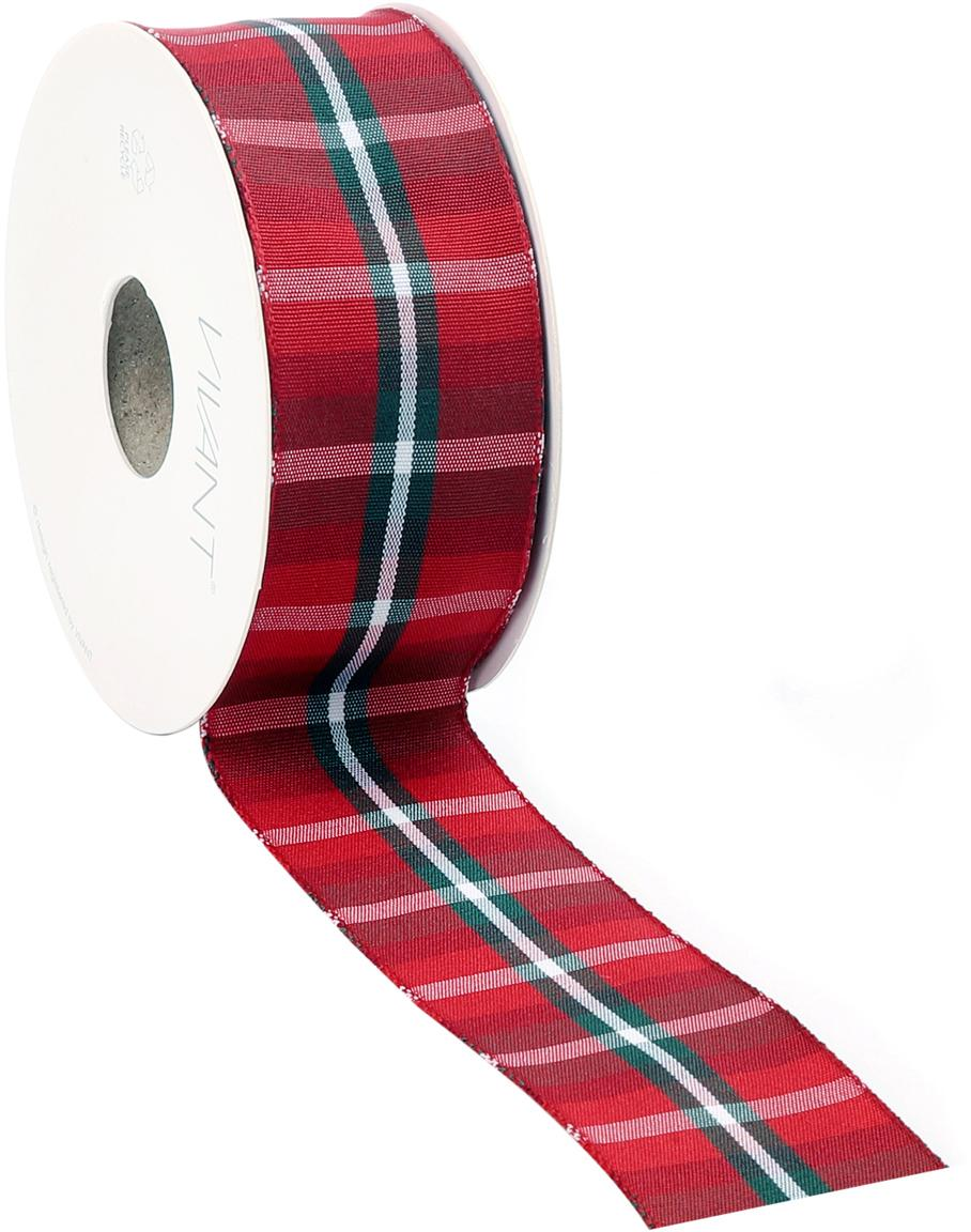 Cadeaulint Scotch, 98% polyester, 2% vernikkeld draad, Rood, wit, groen, 4 x 1500 cm