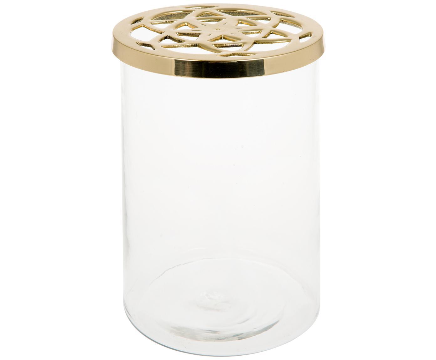 Jarrón Lily, Jarrón: vidrio, Tapa: latón, Jarrón: transparente Tapa: latón, Ø 13 x Al 19 cm