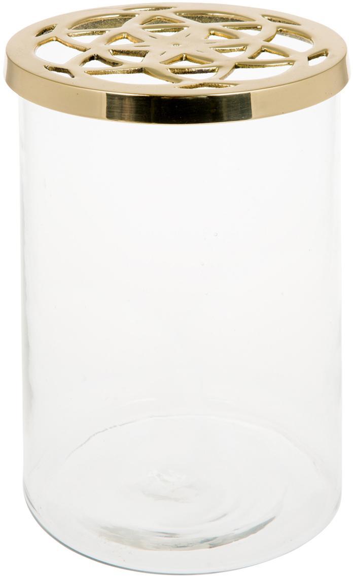 Vaso Lily, Vaso: vetro, Coperchio: ottone, Vaso: trasparente  coperchio: ottone, Ø 13 x A 19 cm