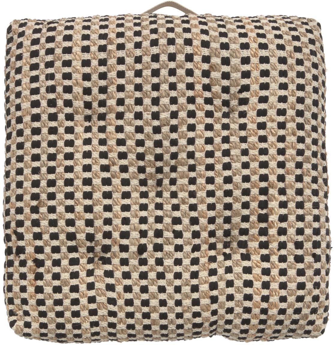 Cojín de suelo de algodón/yute Fiesta, Parte delantera: 55%algodón Chindi , 45%, Parte trasera: 100%algodón, Negro, beige, An 60 cm x L 60 cm