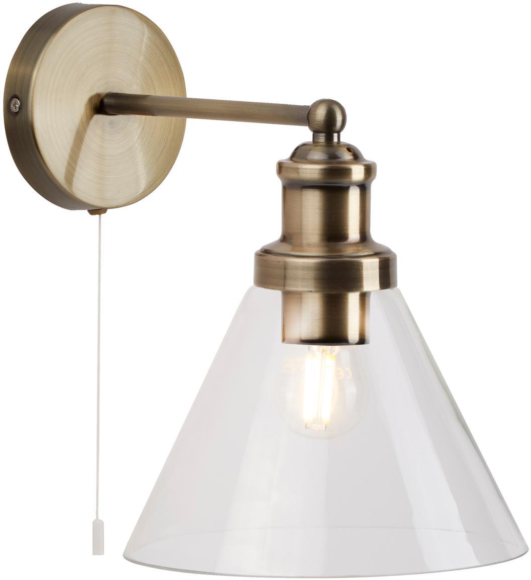 Wandleuchte Pyramid mit Glasschirm, Lampenschirm: Glas, Messing, Transparent, 19 x 25 cm