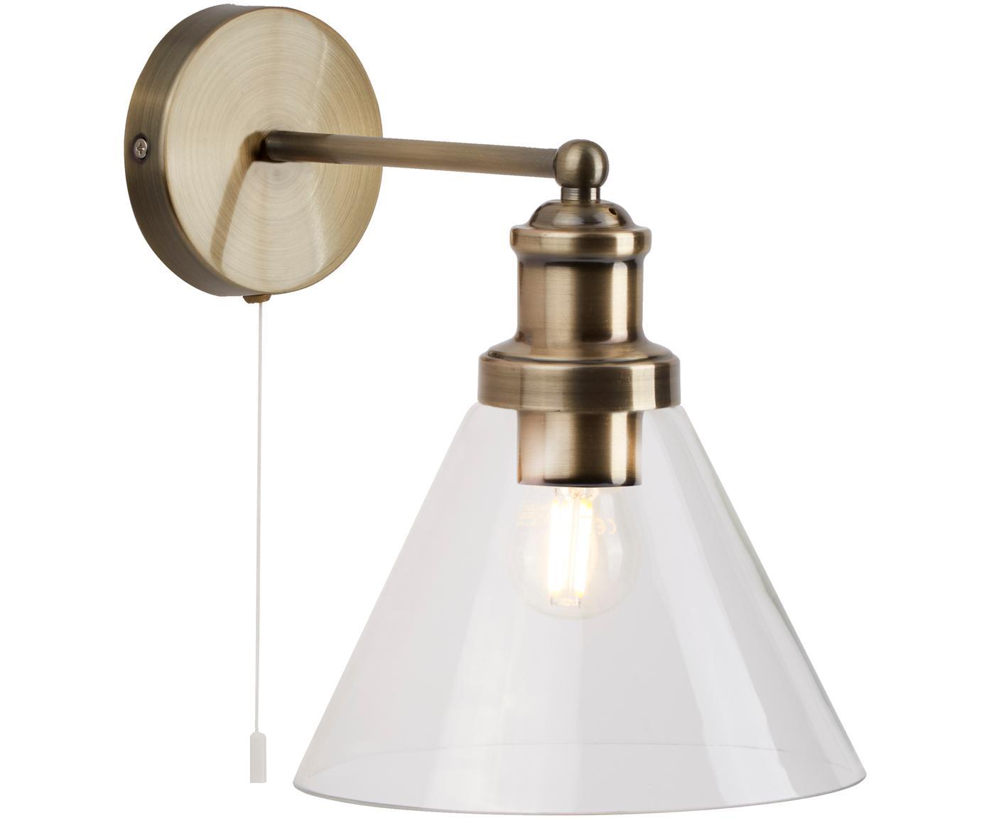 Wandlamp Pyramid, Lampenkap: glas, Messingkleurig, transparant, 19 x 25 cm