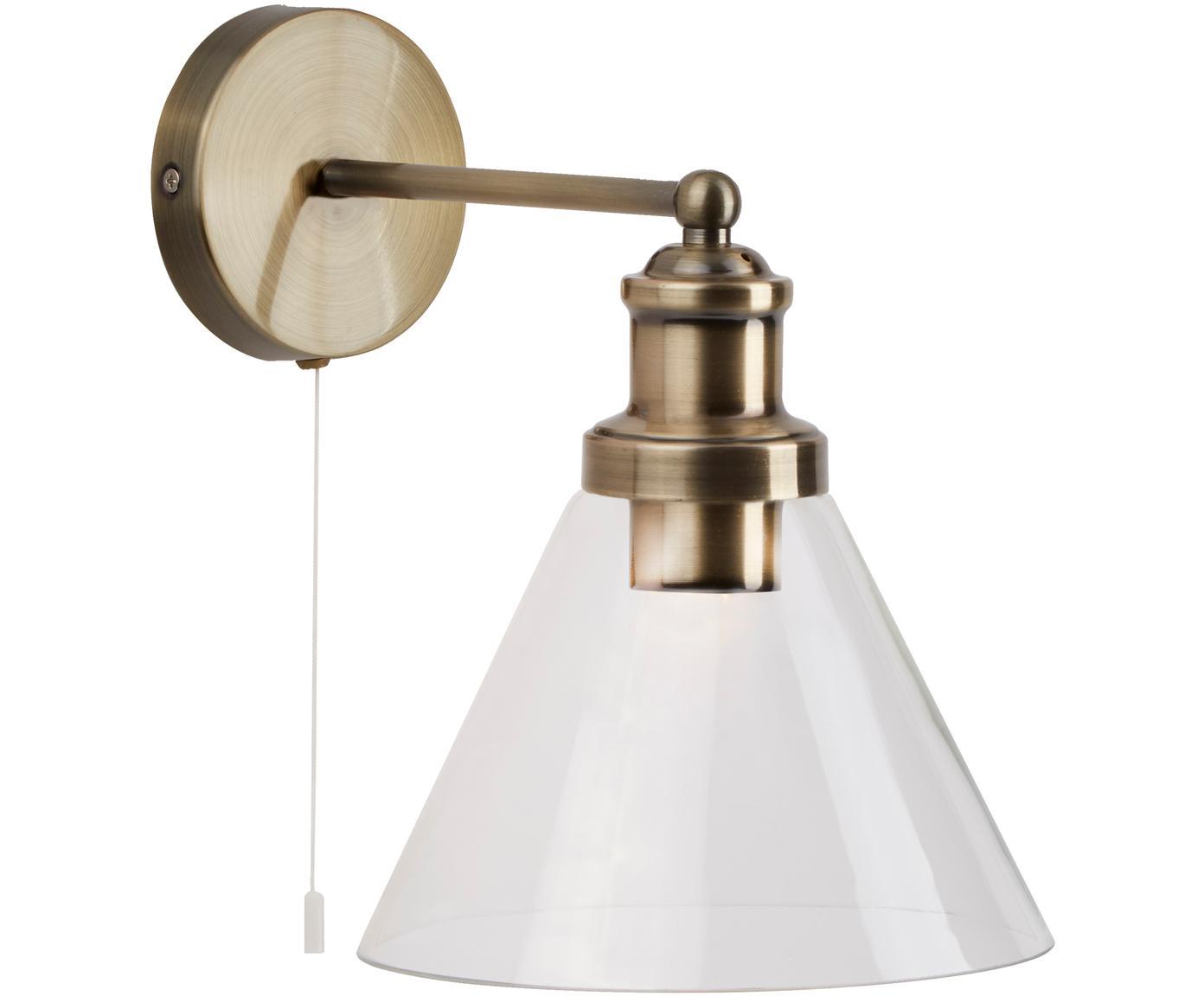 Applique Pyramid, Paralume: vetro, Interruttore: materiale sintetico, Ottone trasparente, Larg. 19 x Alt. 25 cm