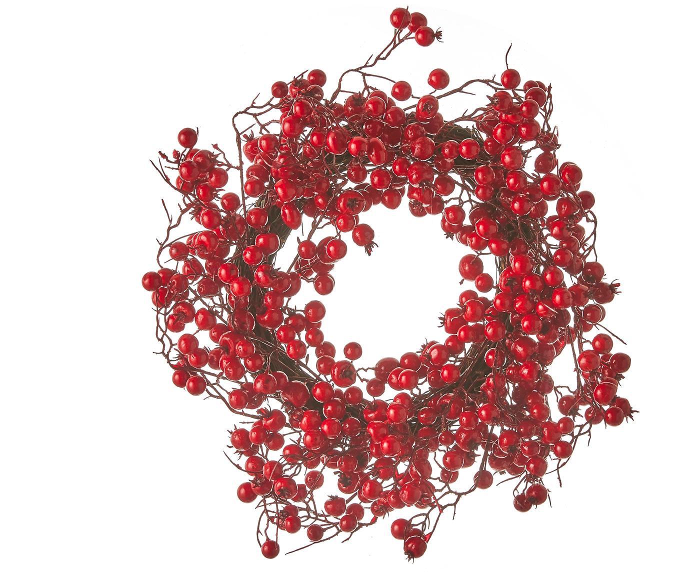 Decoratieve krans Stirling, Rood, Ø 40 x H 10 cm