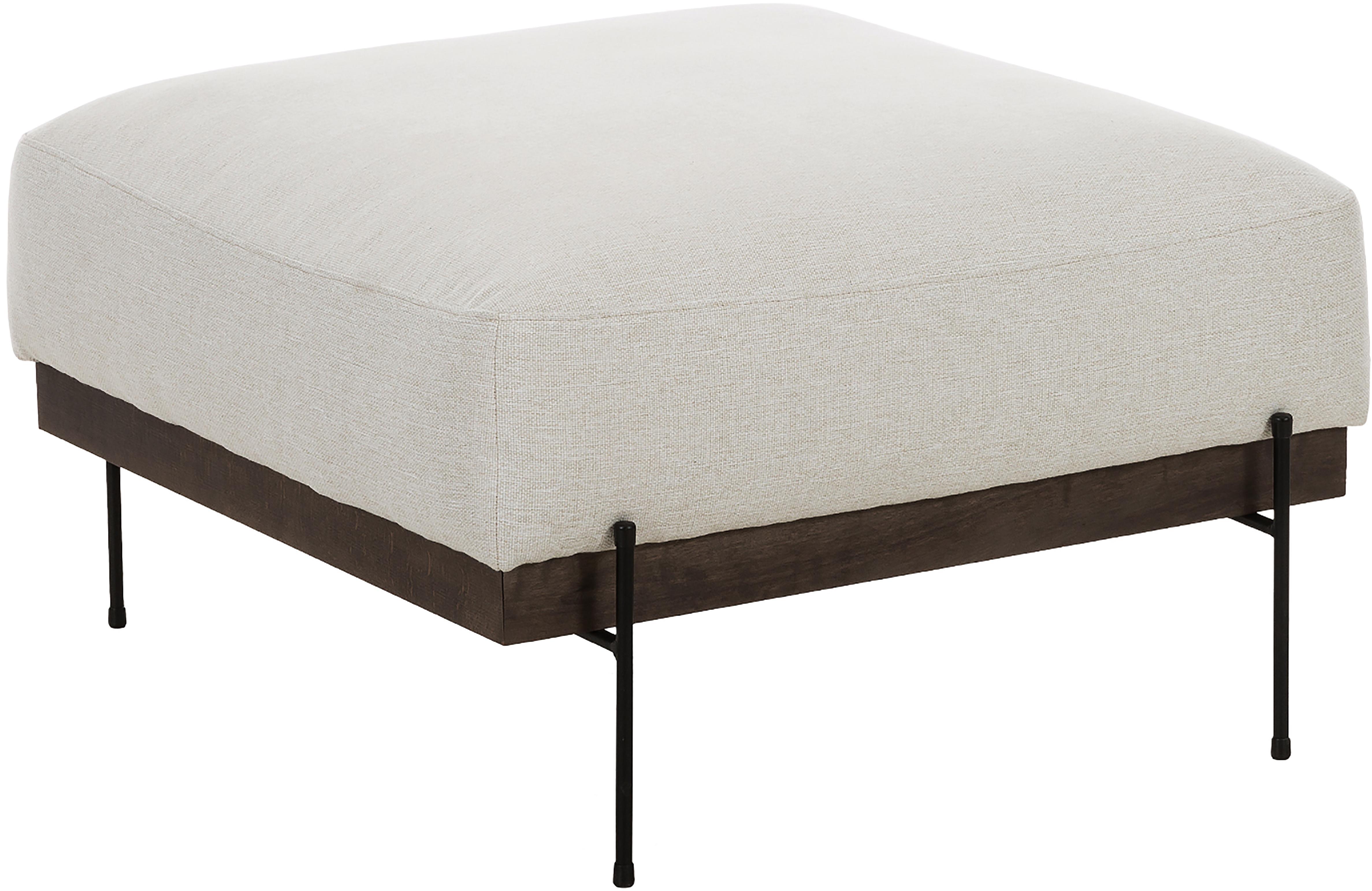 Sofa-Hocker Brooks, Bezug: Polyester 35.000 Scheuert, Gestell: Kiefernholz, massiv, Rahmen: Kiefernholz, lackiert, Füße: Metall, pulverbeschichtet, Beige, 80 x 43 cm