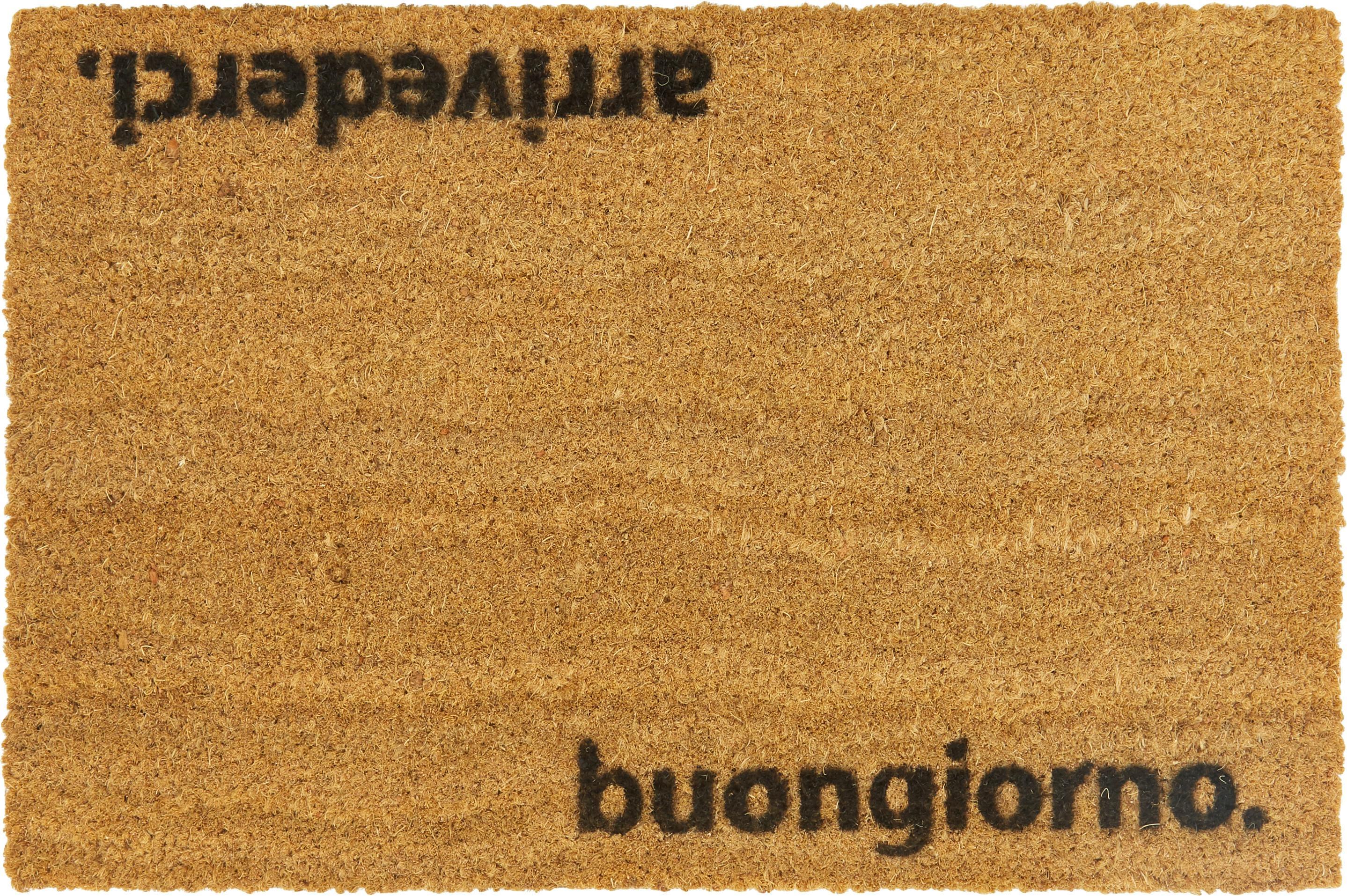 Fußmatte Arrivederci, Kokosfaser, Fußmatte: Beige, Schriftzug: Schwarz, 40 x 60 cm
