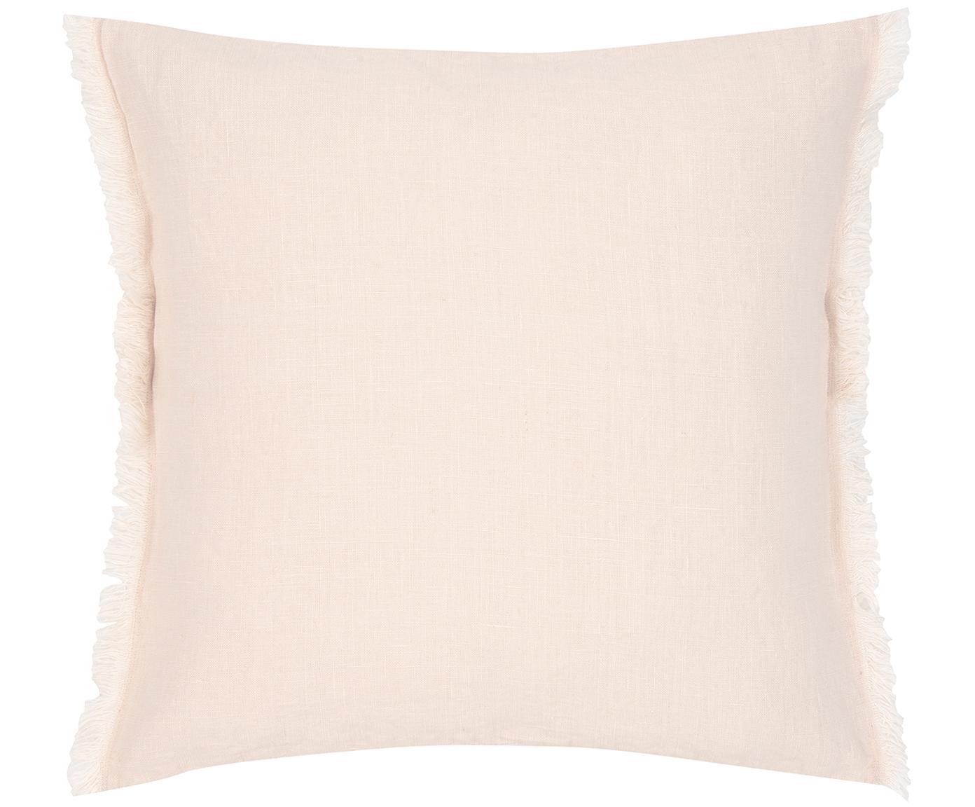 Leinen-Kissenhülle Luana mit Fransen, 100% Leinen, Apricot, 50 x 50 cm