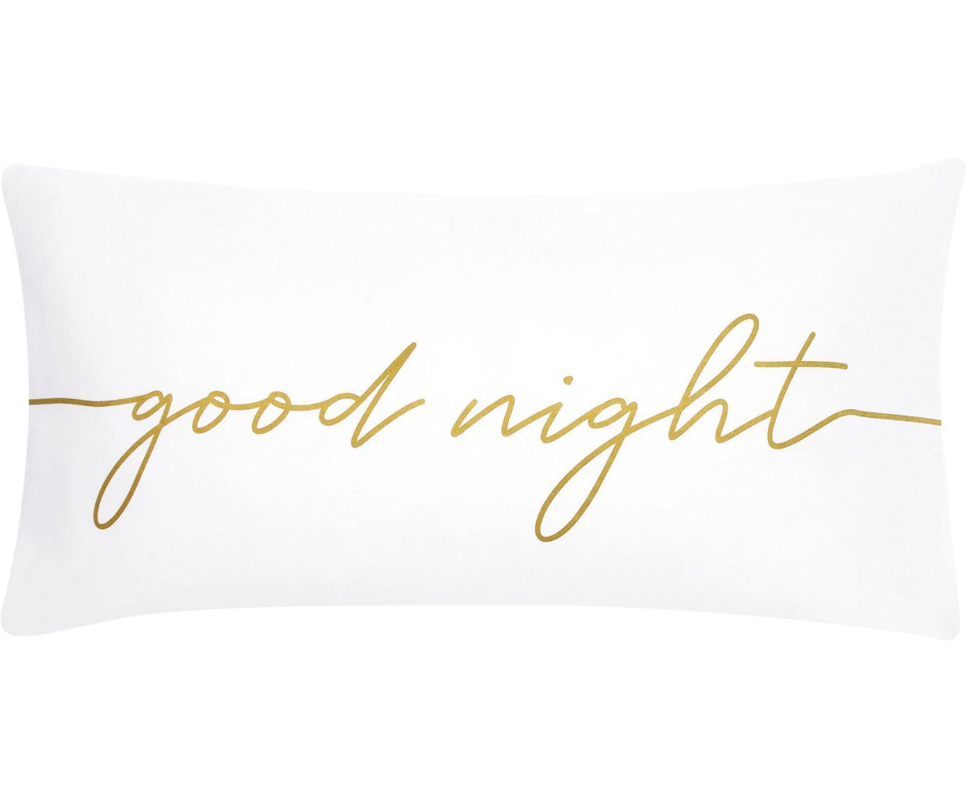 Baumwollperkal-Kissenbezüge Writings mit Schriftzug, 2 Stück, Webart: Perkal Fadendichte 180 TC, Weiß, Goldfarben, 40 x 80 cm