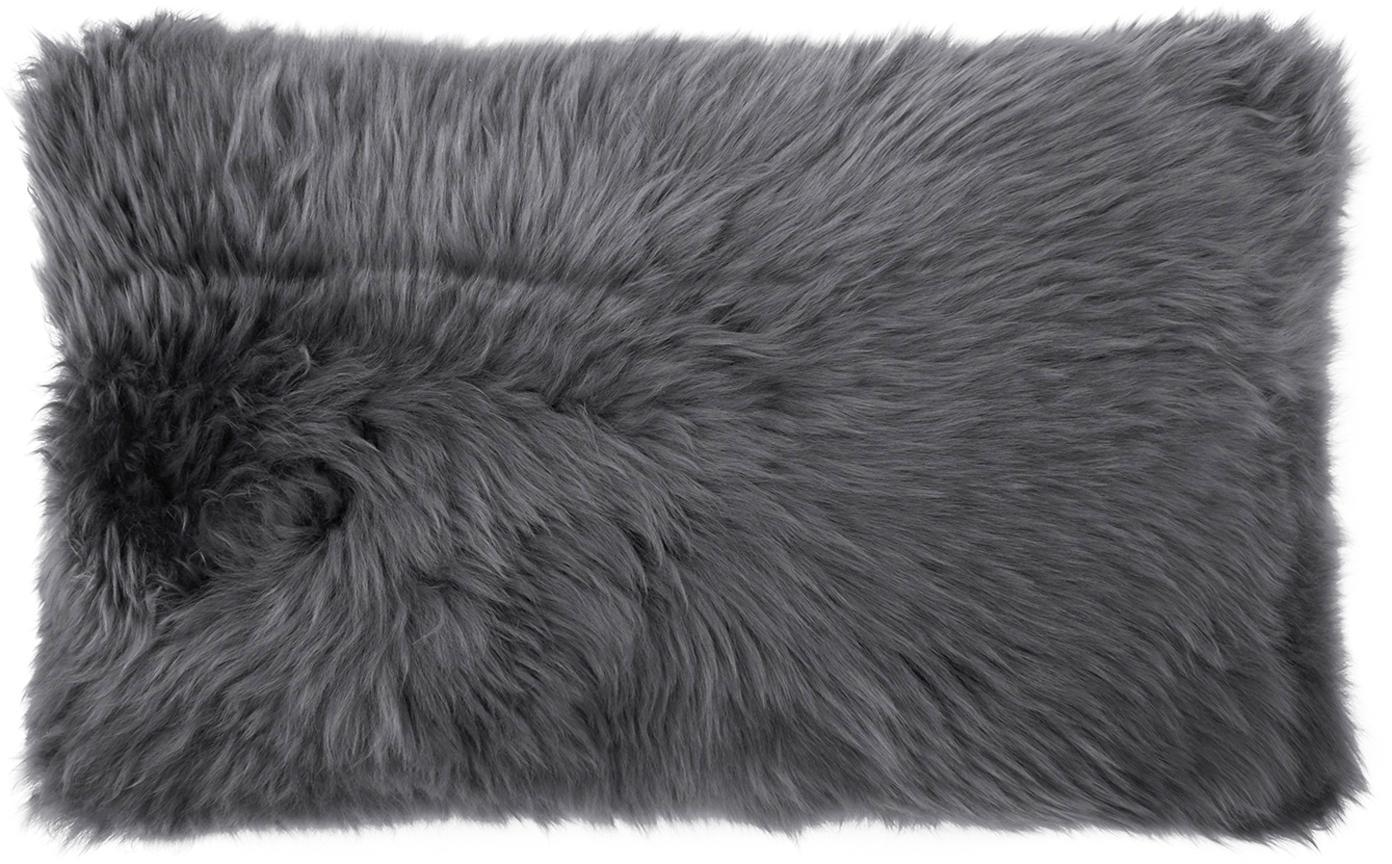 Federa arredo in pelliccia di pecora Oslo, Retro: lino, Fronte: grigio scuro retro: grigio scuro, Larg. 30 x Lung. 50 cm