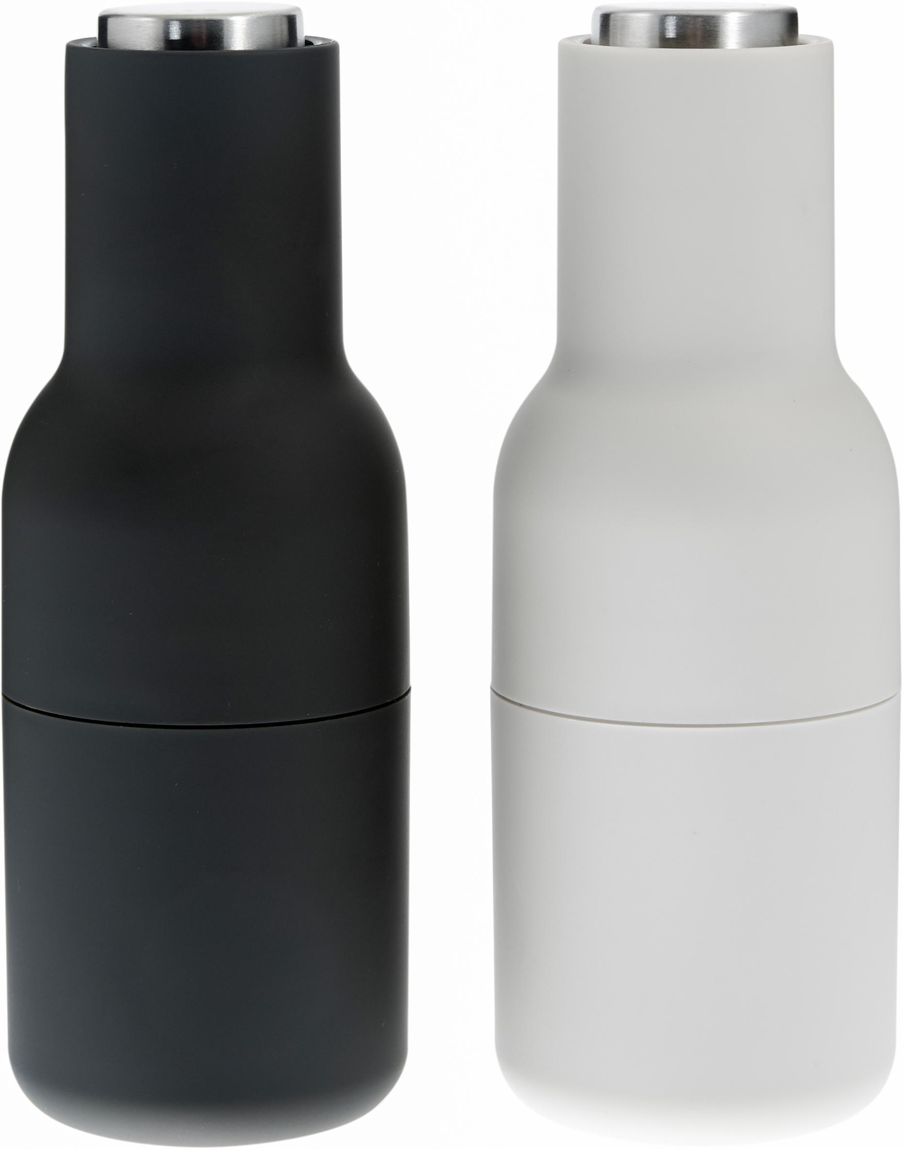 Designer Salz- & Pfeffermühle Bottle Grinder mit Edelstahldeckel, Korpus: Kunststoff, Mahlwerk: Keramik, Deckel: Edelstahl, Anthrazit, Hellgrau, Ø 8 x H 21 cm