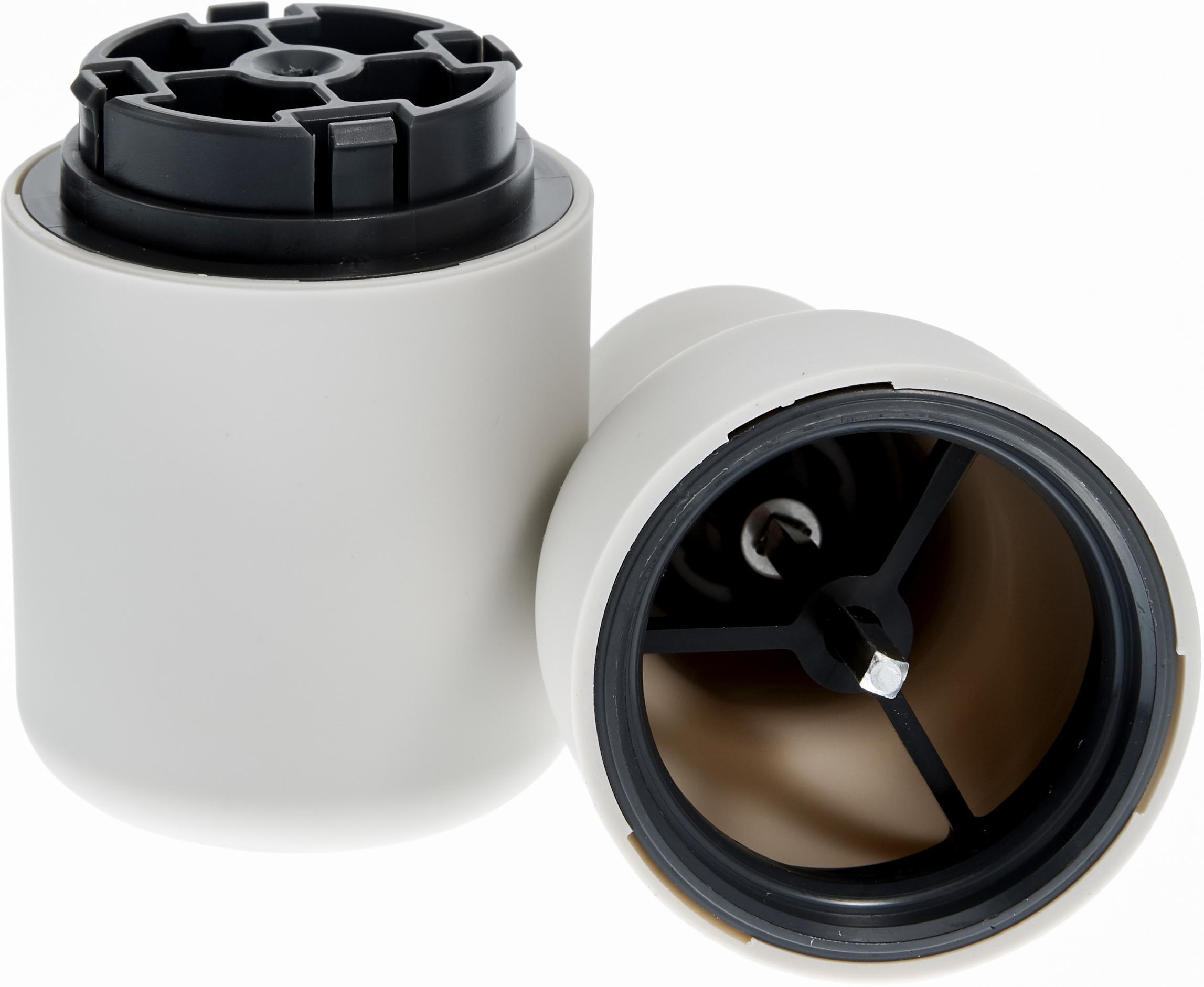 Peper- en zoutmolen Bottle Grinder, 2-delig, Frame: kunststof, Deksel: edelstaal, Antraciet, lichtgrijs, Ø 8 x H 21 cm