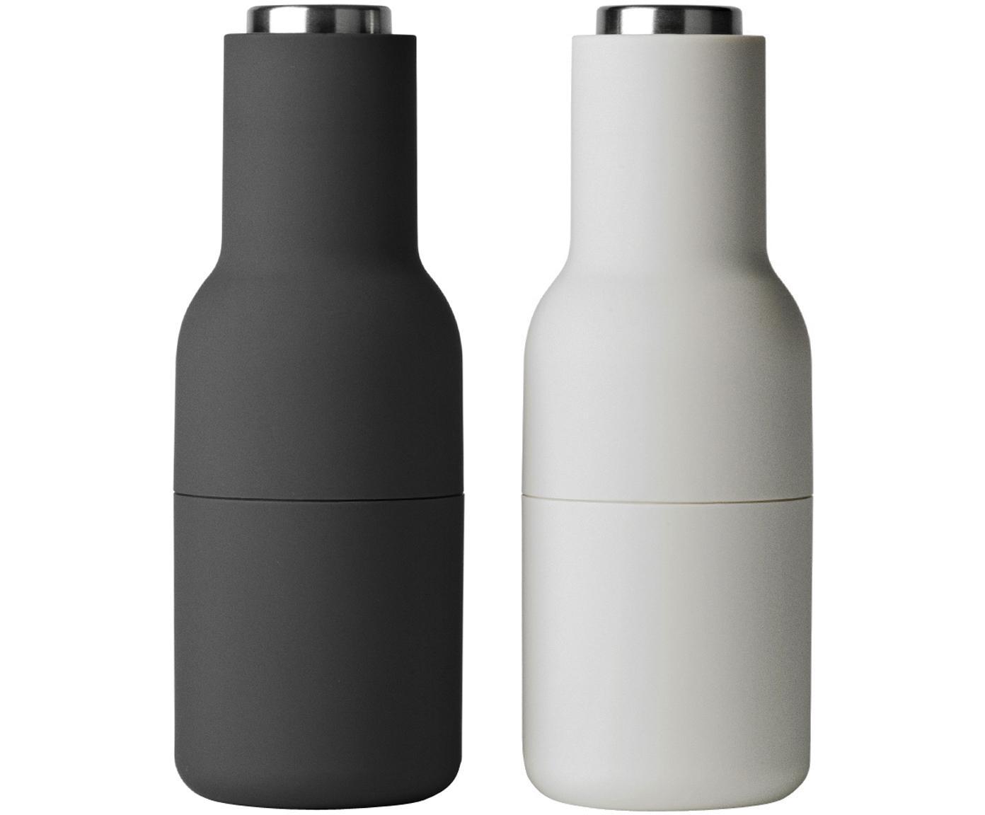 Set macinaspezie Bottle Grinder, 2 pz., Coperchio: acciaio inossidabile, Antracite, grigio chiaro, Ø 8 x Alt. 21 cm
