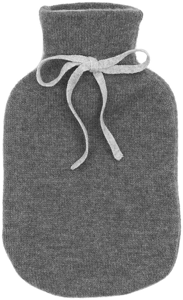Bolsa de agua caliente de cachemira Florentina, Funda: 70%cachemira, 30%lana m, Funda: gris oscuro Lazo: gris claro Bolsa de agua caliente: blanco crema, An 19 x L 30 cm