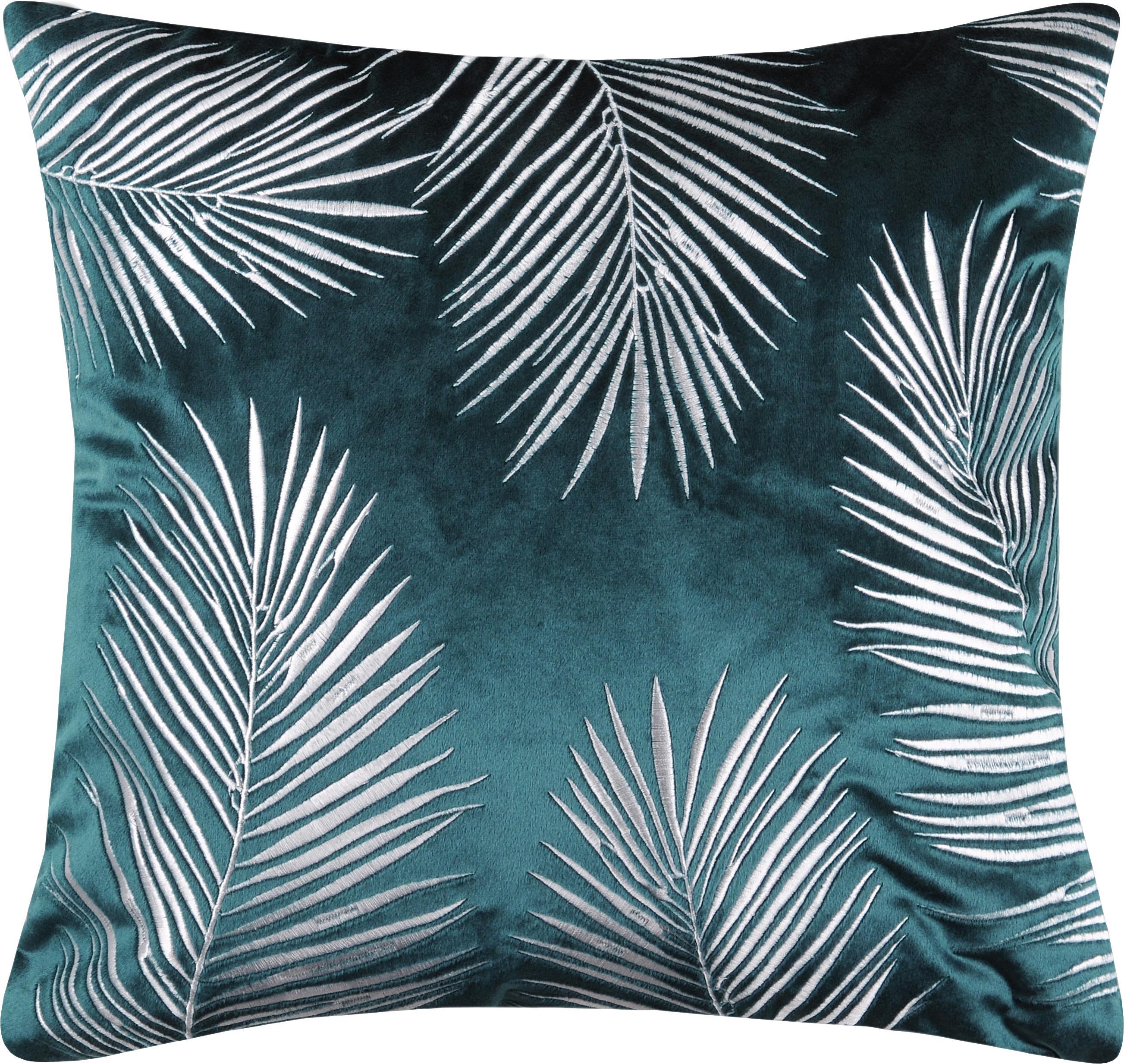Samt-Kissenhülle Ibarra mit Palmenblatt Stickerei, 100% Polyester, Petrolblau, Weiß, 45 x 45 cm