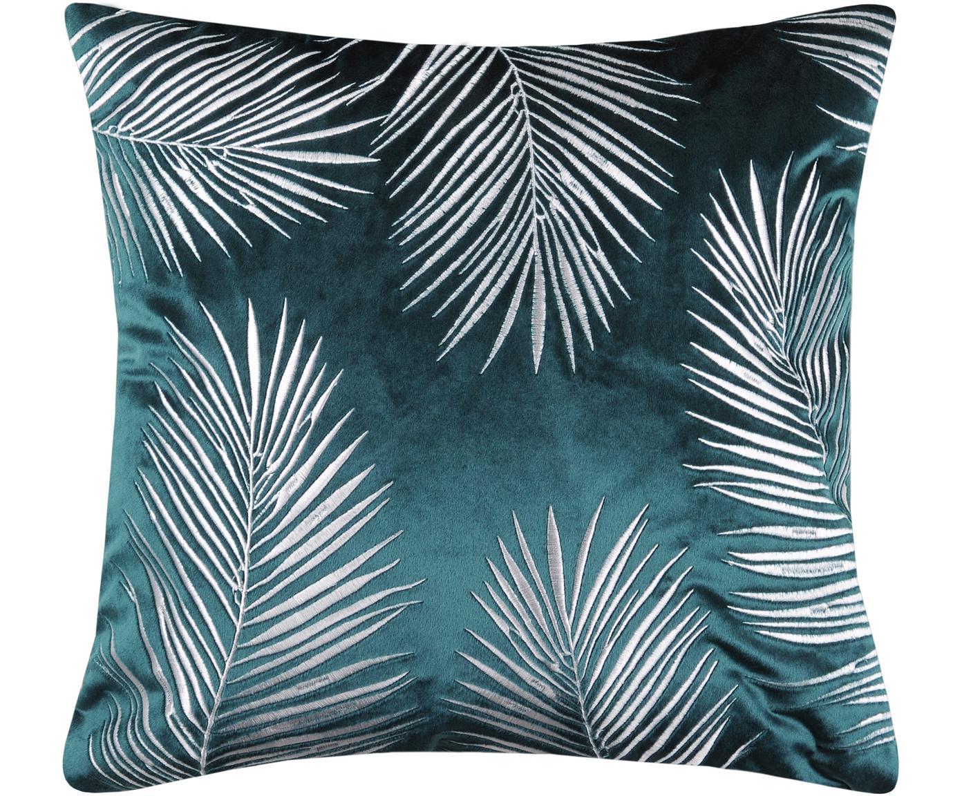 Poszewka na poduszkę z aksamitu Ibarra, Poliester, Niebieski petrol, biały, S 45 x D 45 cm
