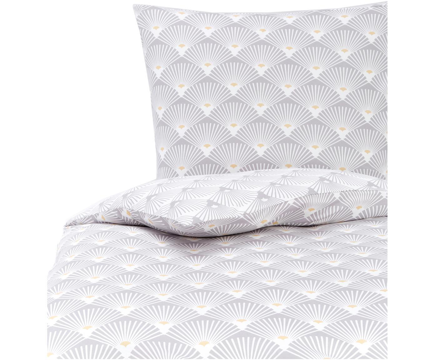 Jersey-Bettwäsche Ginkgo, Webart: Jersey Jersey ist ein kli, Grau, Weiß, 135 x 200 cm + 1 Kissen 80 x 80 cm