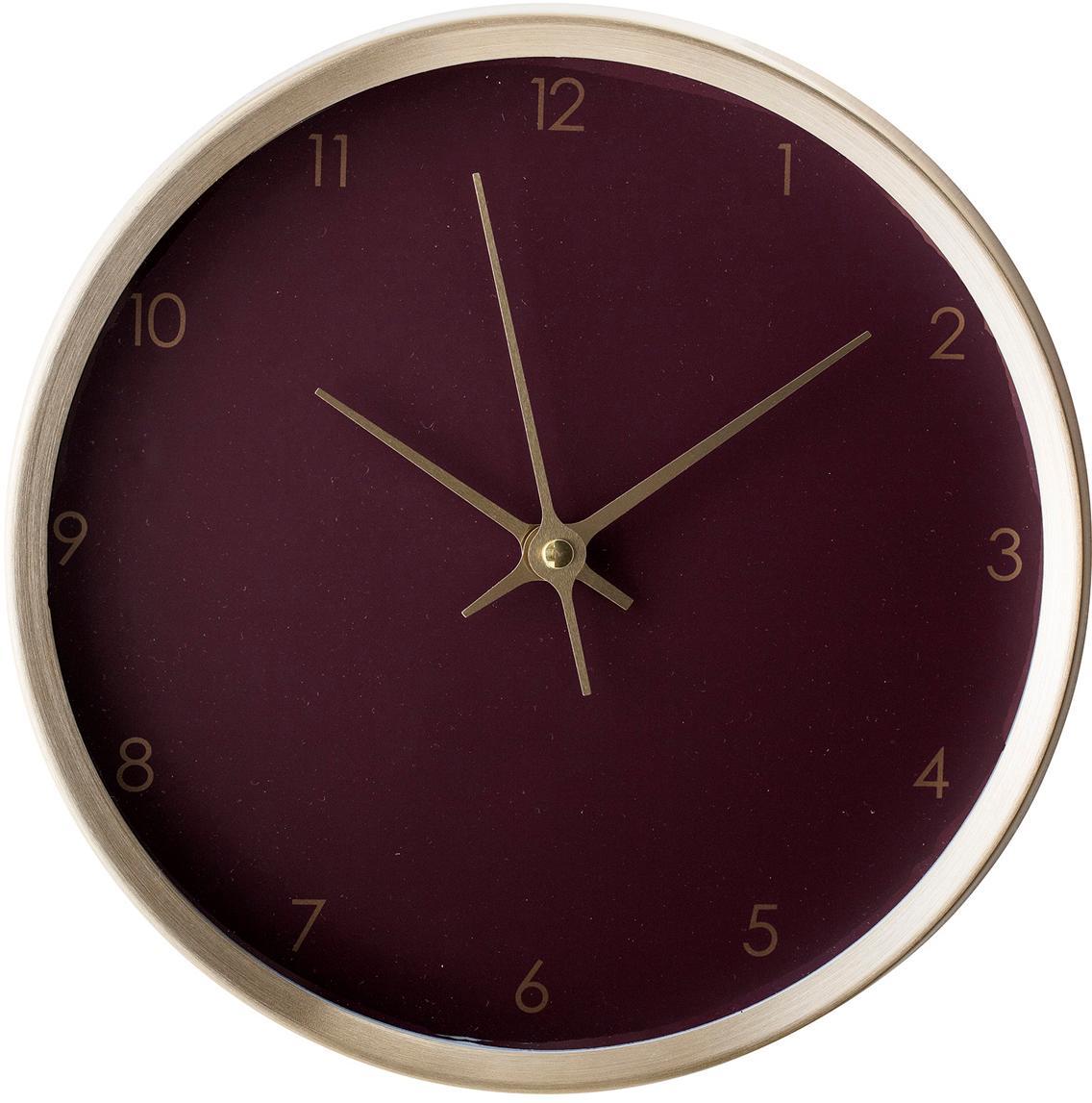 Reloj de pared Ola, Agujas: aluminio, pintado, Rojo burdeos, dorado, Ø 25 x P 5 cm